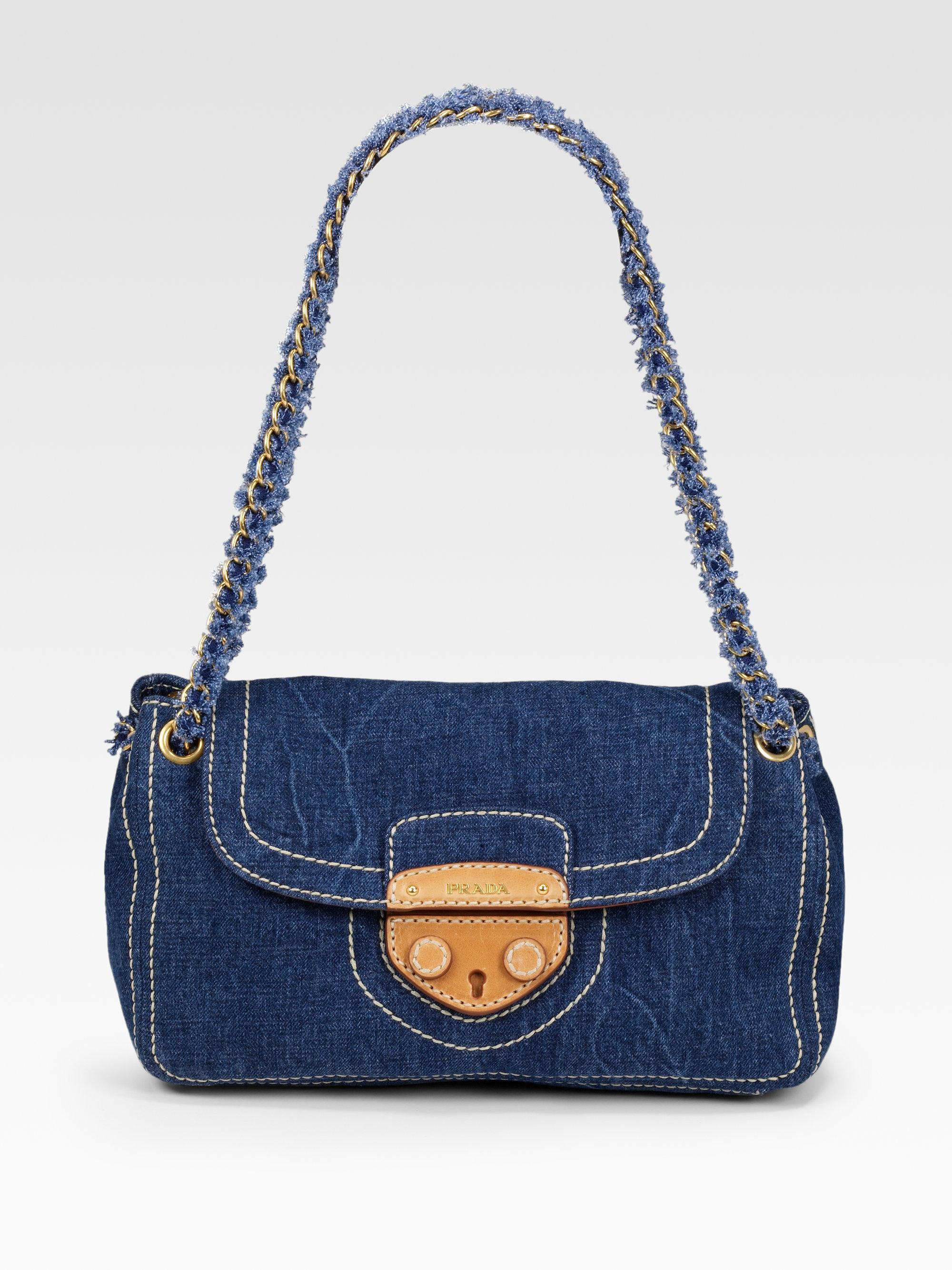 prada leather denim shoulder bag, prada clutches