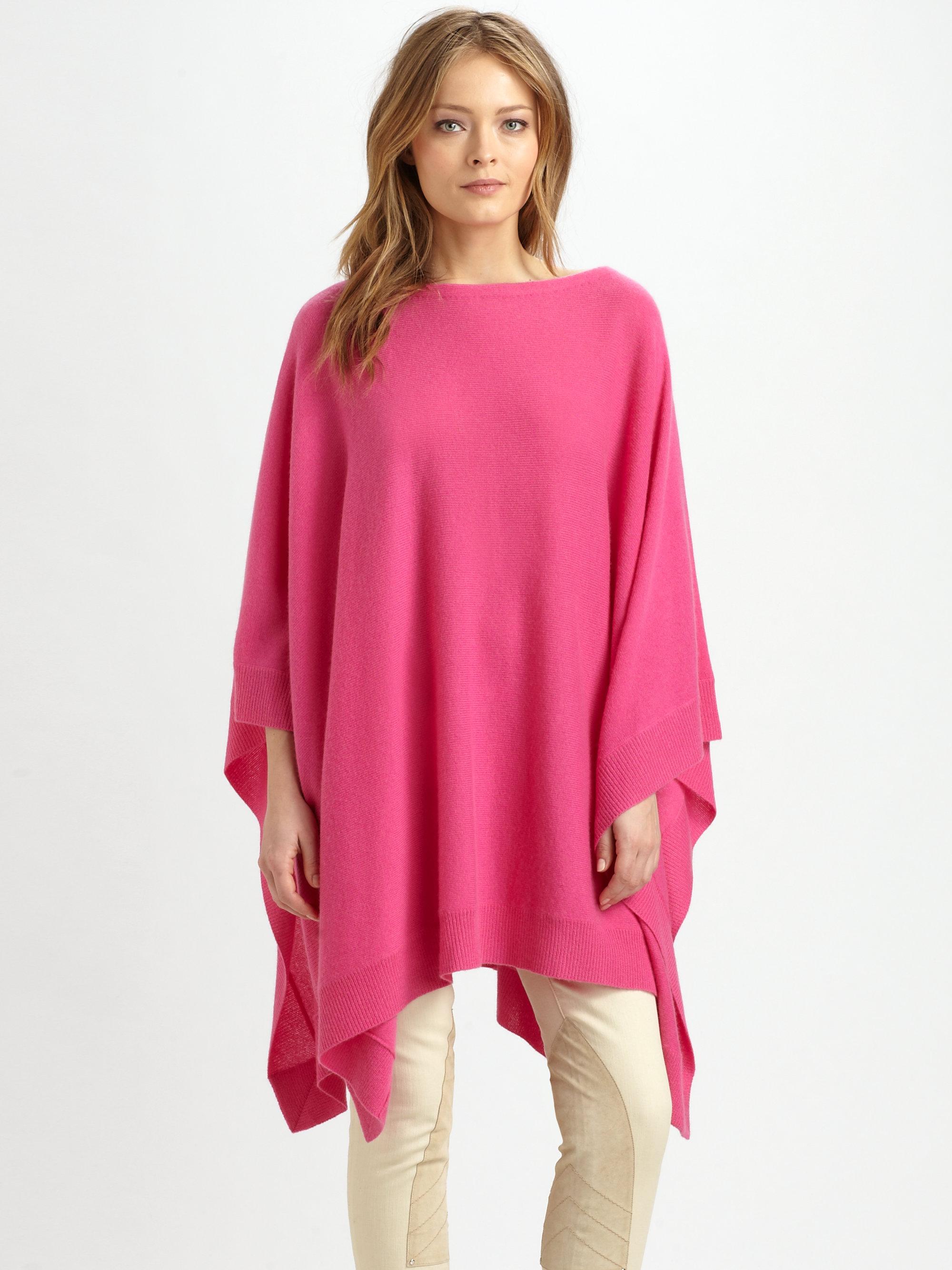 Ralph Lauren Blue Label Cashmere Poncho In Pink Lyst