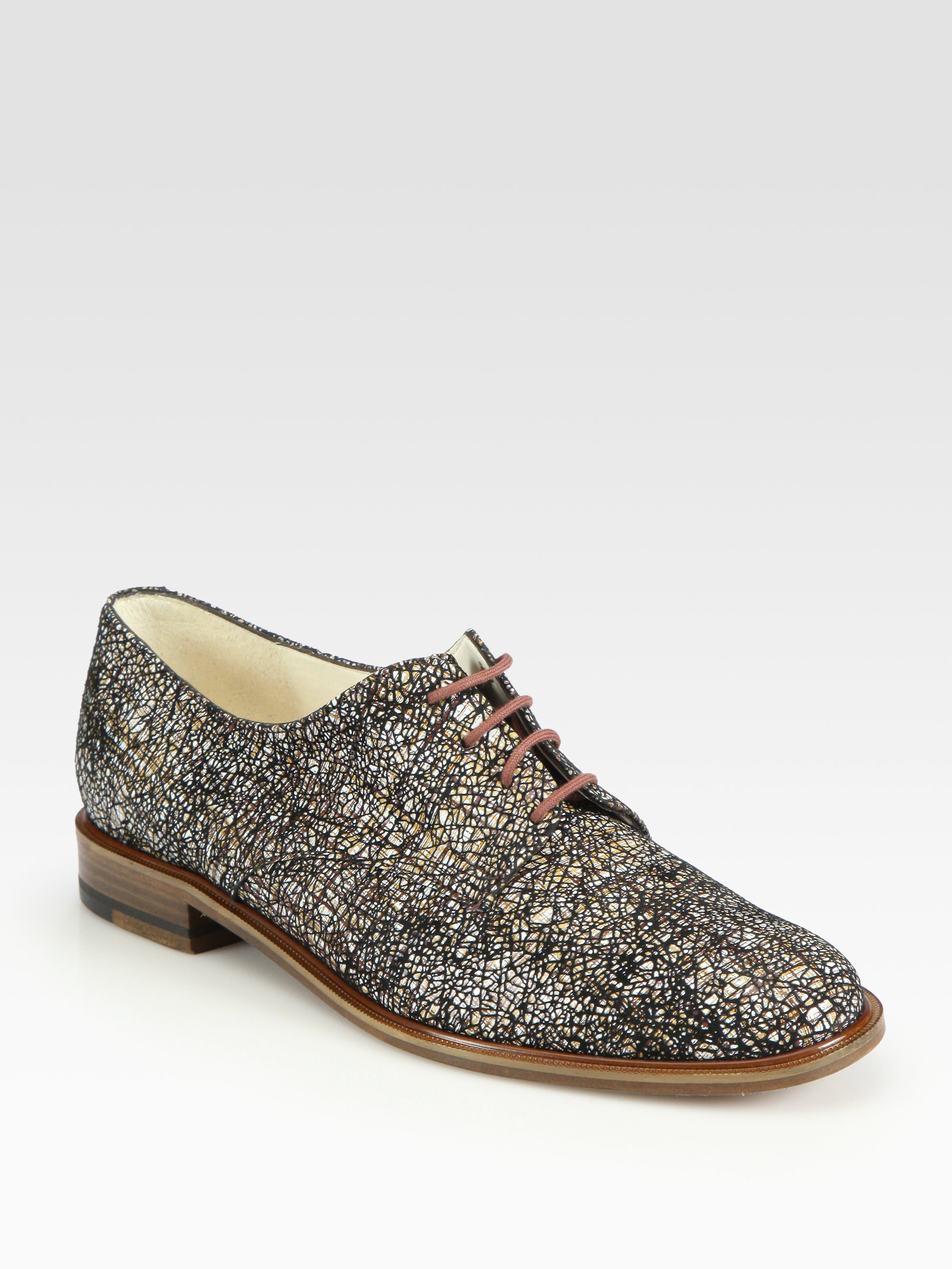 ad29c01c2 Lyst - Robert Clergerie Printed Leather Oxford Laceup Flats in Brown