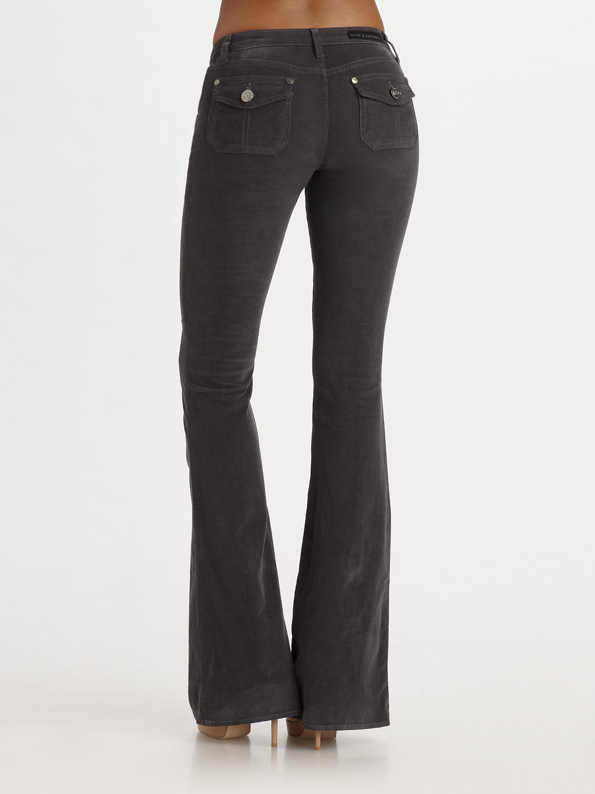Rock  Republic Womens Elizabeth Utility Flare Jeans In Grey Black - Lyst-6131