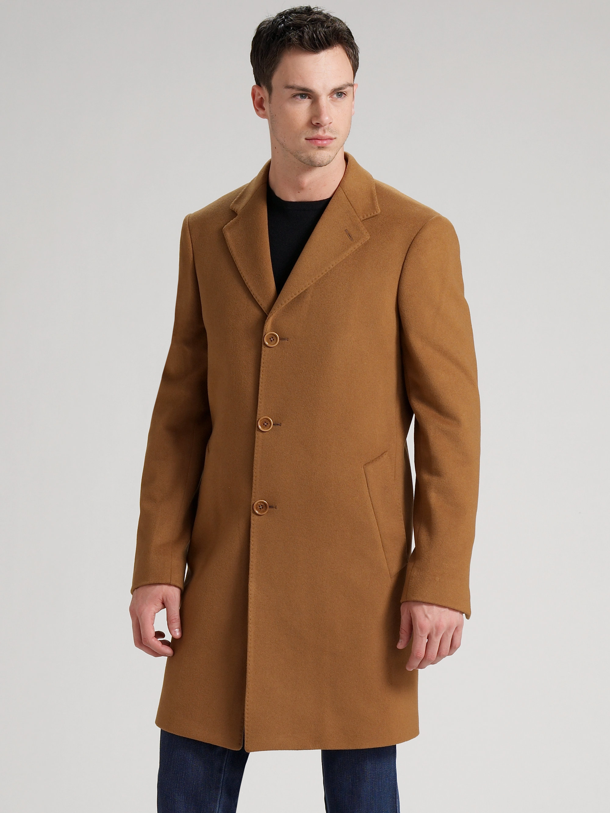 Saks fifth avenue Cashmere Topcoat in Brown for Men | Lyst