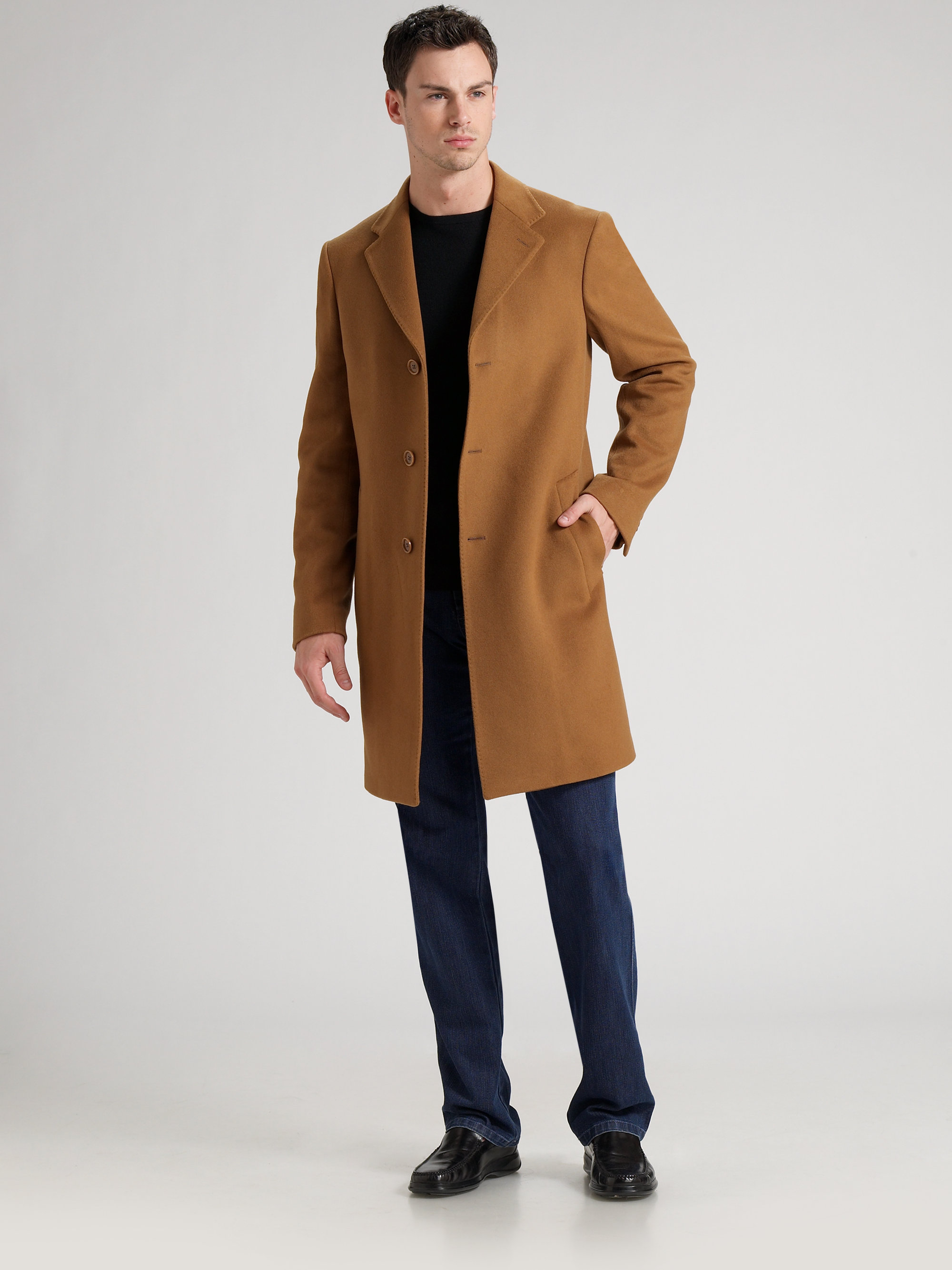 Lyst Saks Fifth Avenue Cashmere Topcoat In Brown For Men