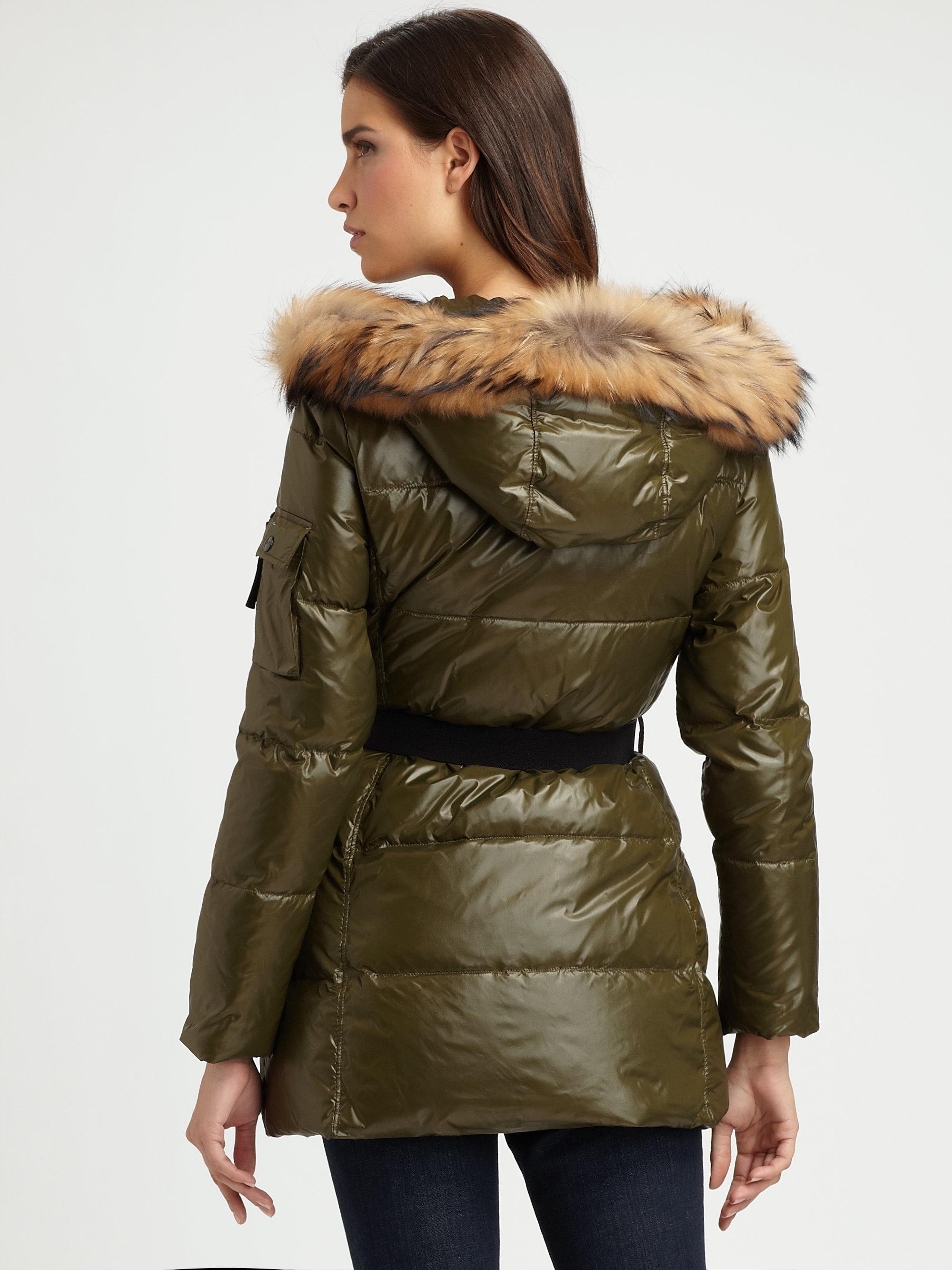 Sam Snowcat Racoontrimmed Puffer Coat In Natural Lyst