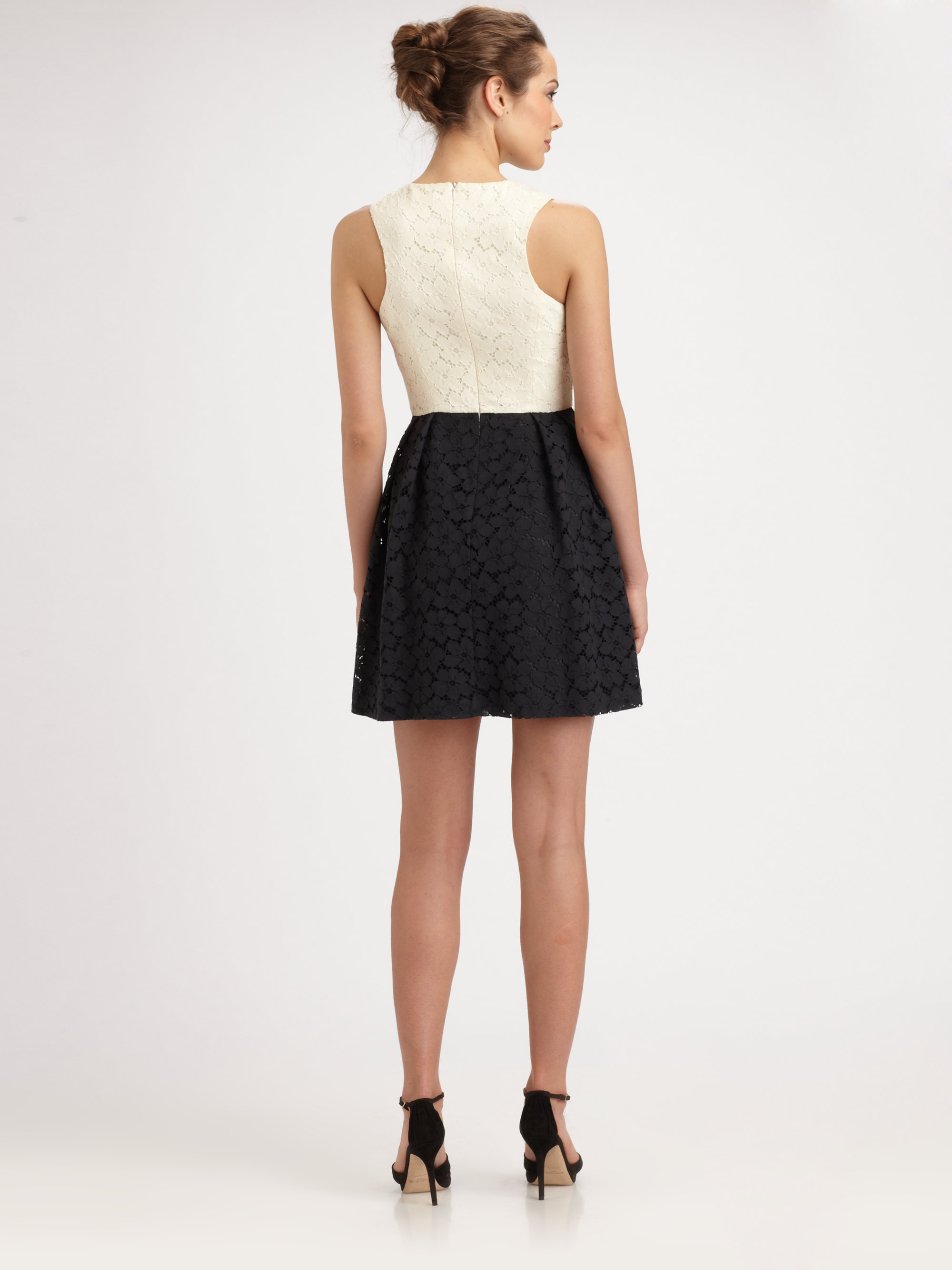 Shoshanna Belle Lace Dress In Black Ivory Black Lyst