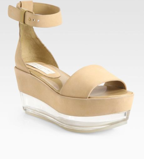 stella mccartney faux suede glass wedge sandals in brown