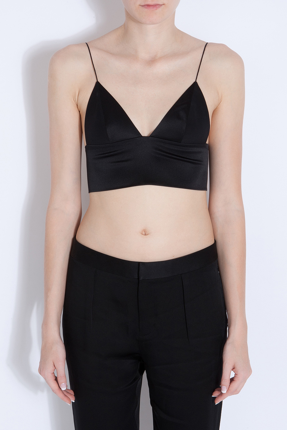 074614a367 Lyst - T By Alexander Wang Silk Satin Bralette in Black