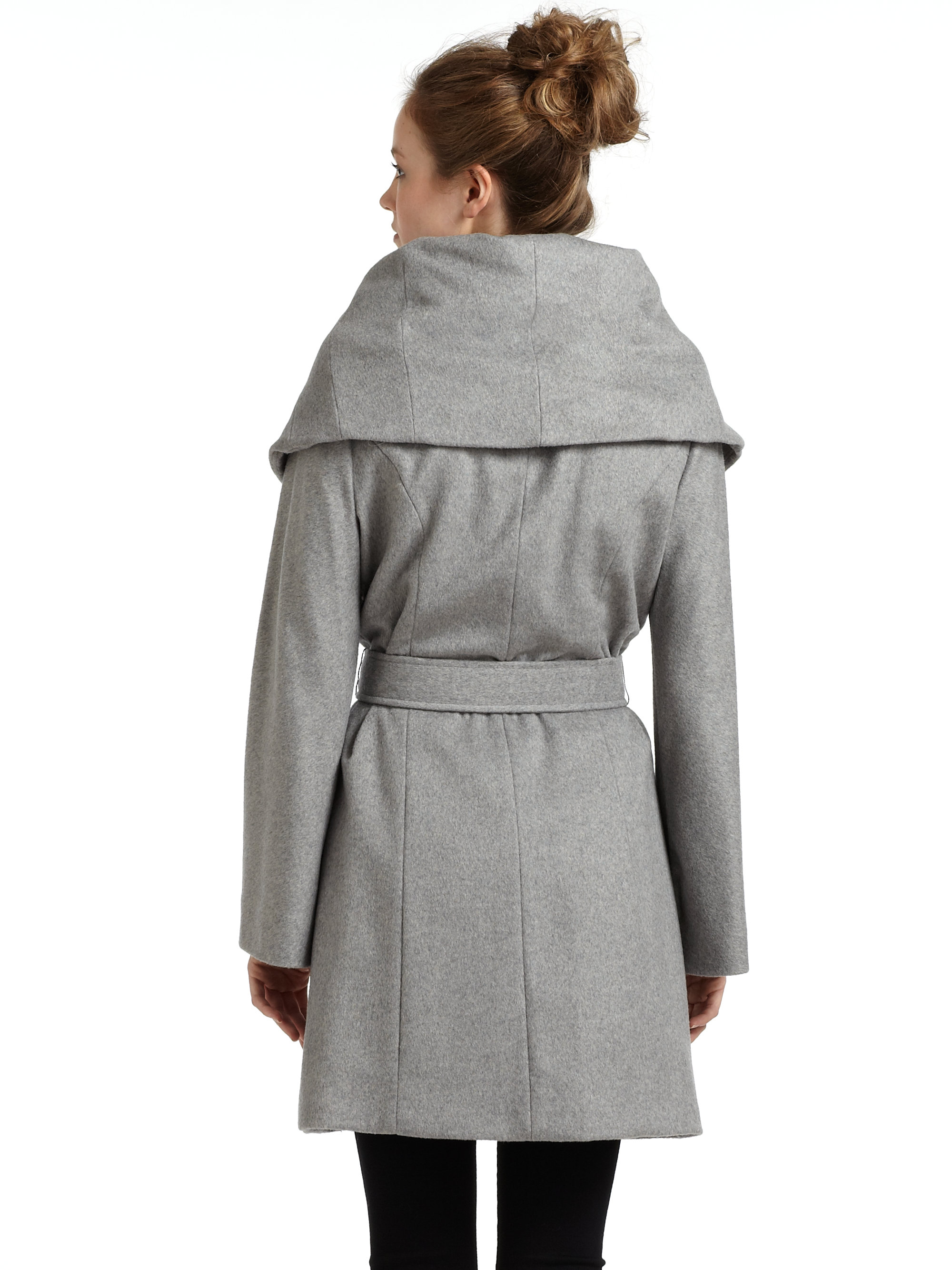 Tahari Marla Wool Blend Wrap Coat in Gray | Lyst