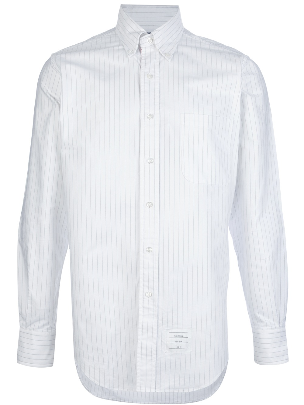Lyst thom browne striped shirt in white for men for Thom browne white shirt