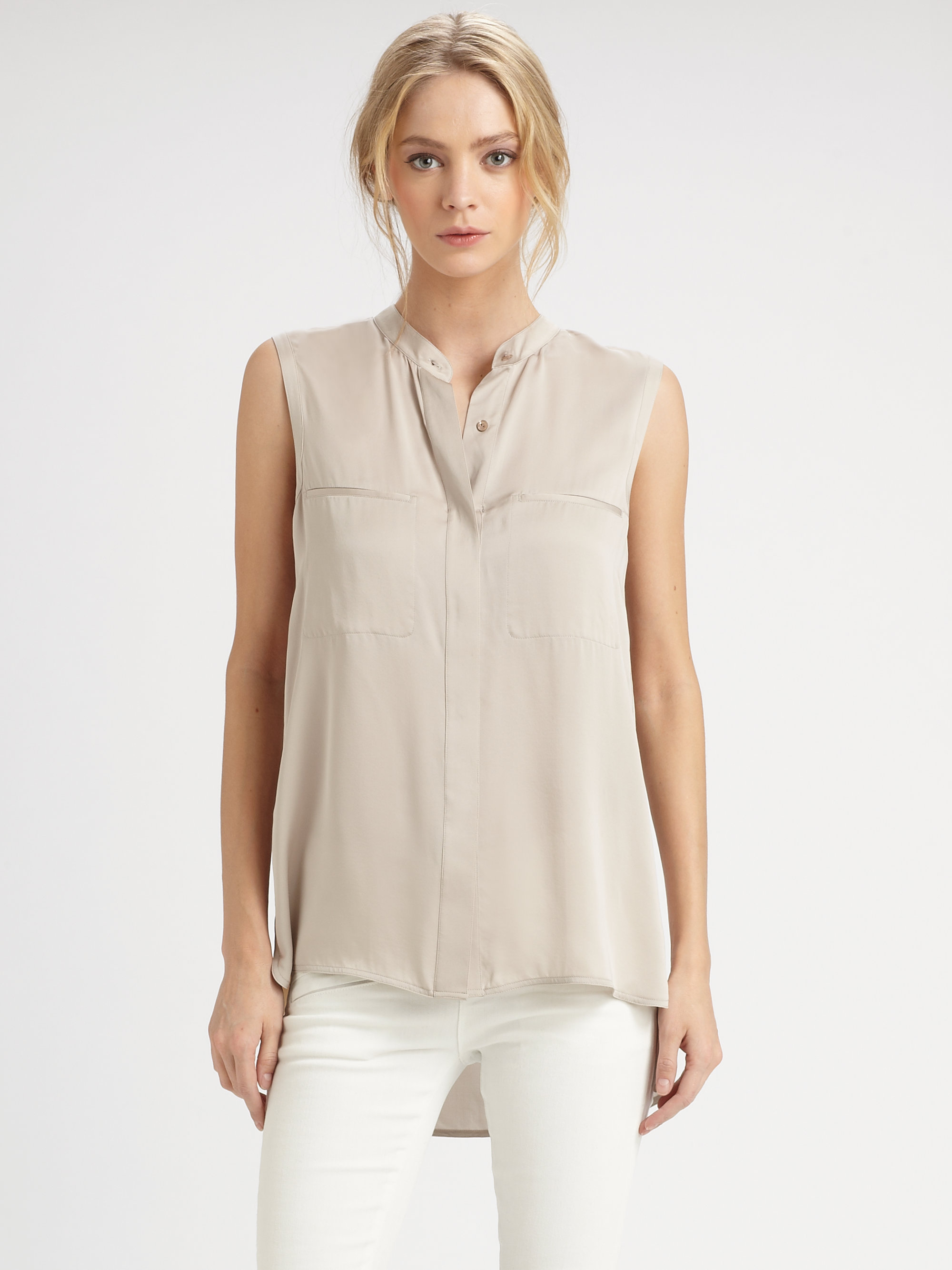 Joie Sleeveless Silk Turtleneck Blouse 61