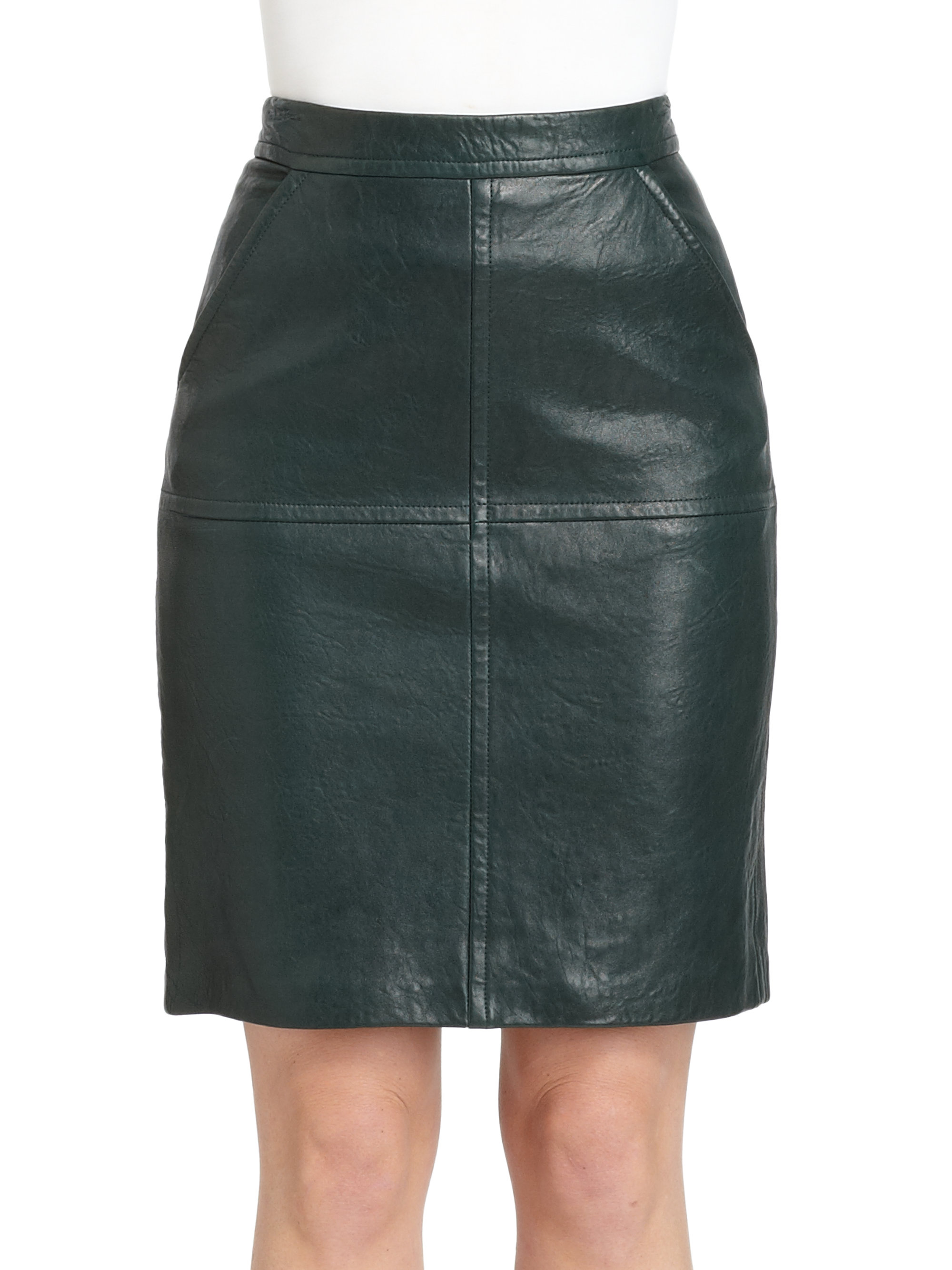 yigal azrou 235 l leather pencil skirt in green evergreen lyst