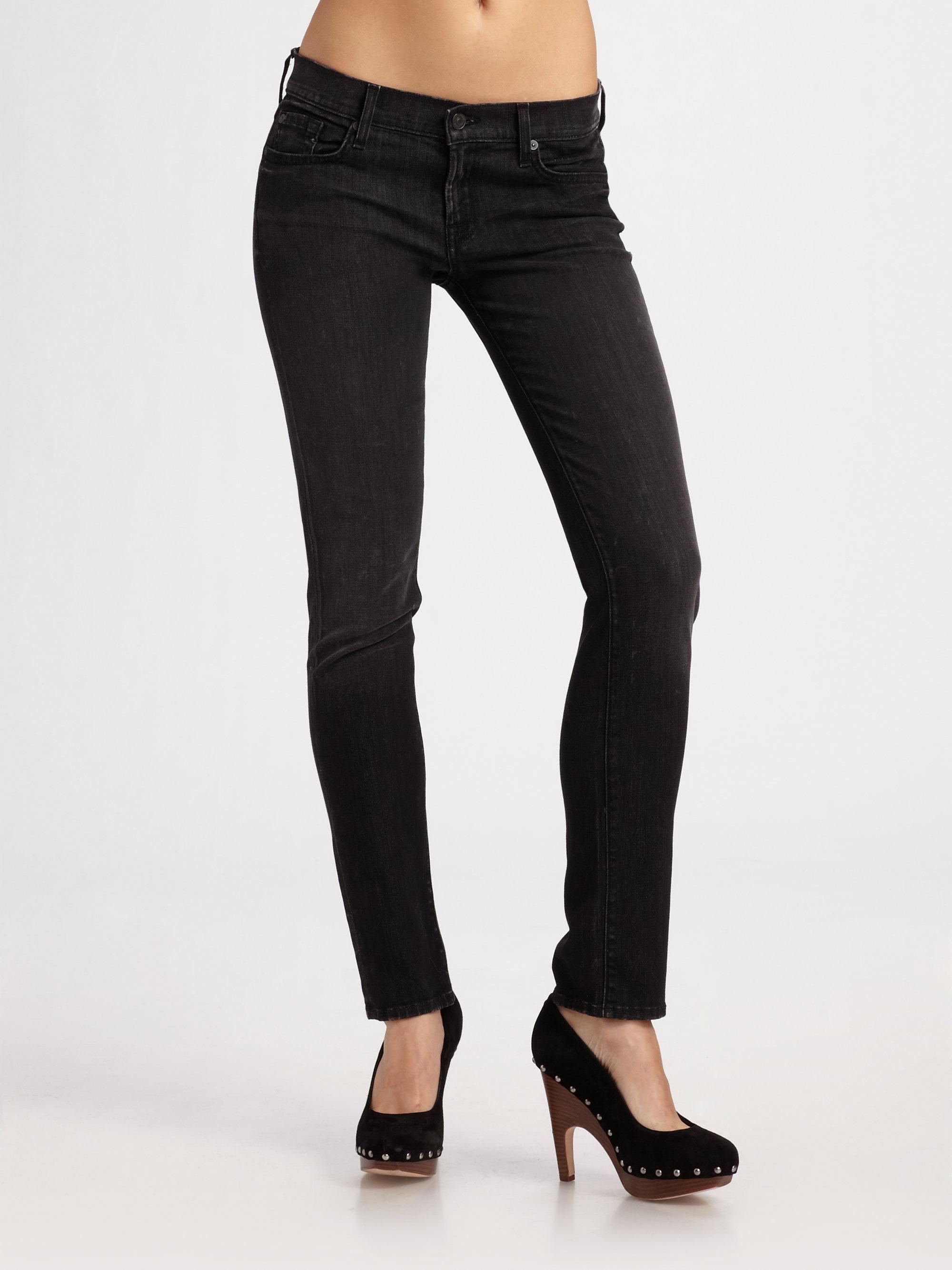 7 for all mankind roxanne skinny jeans in black black. Black Bedroom Furniture Sets. Home Design Ideas