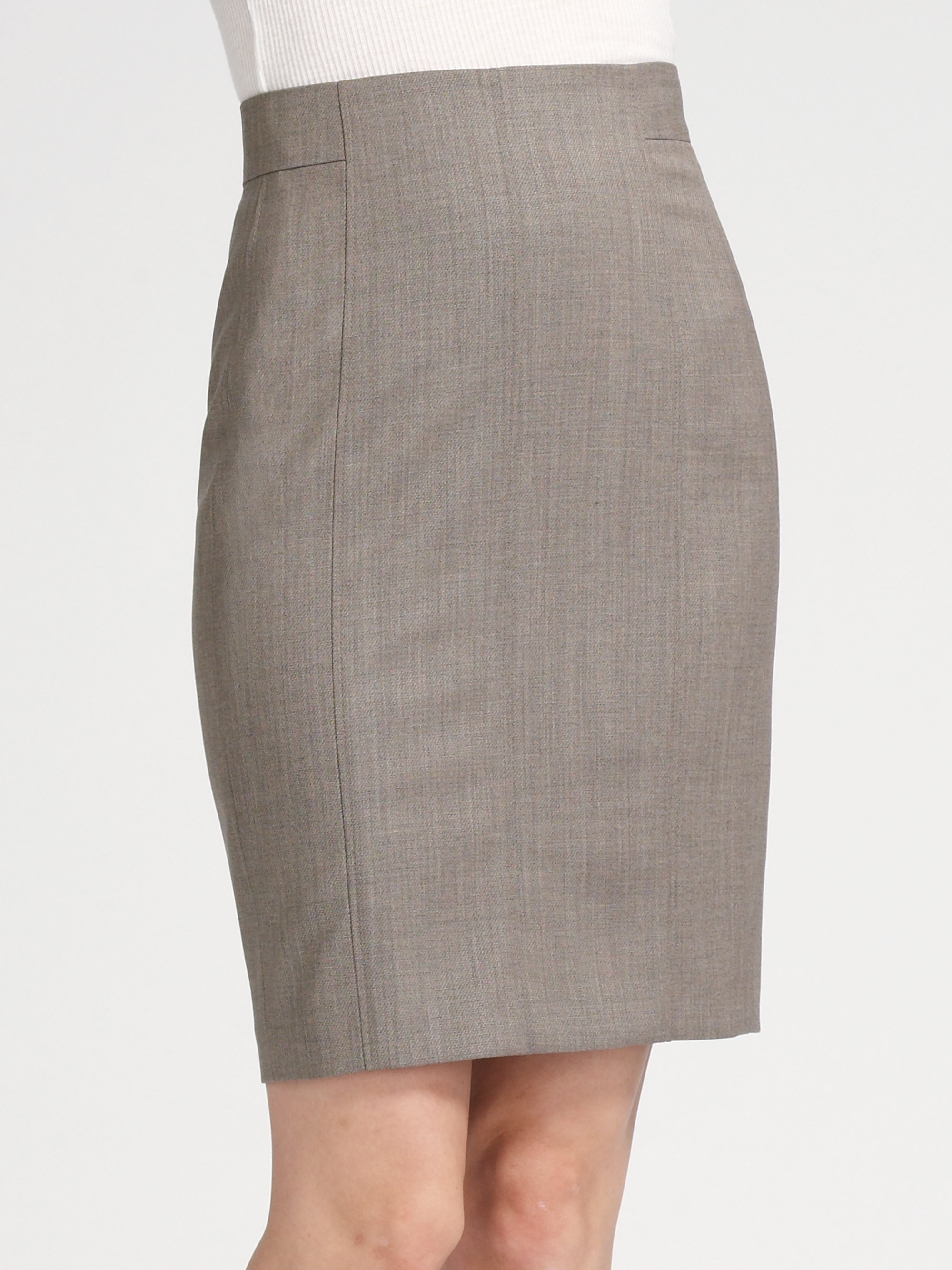 akris punto stretch wool pencil skirt in brown lyst