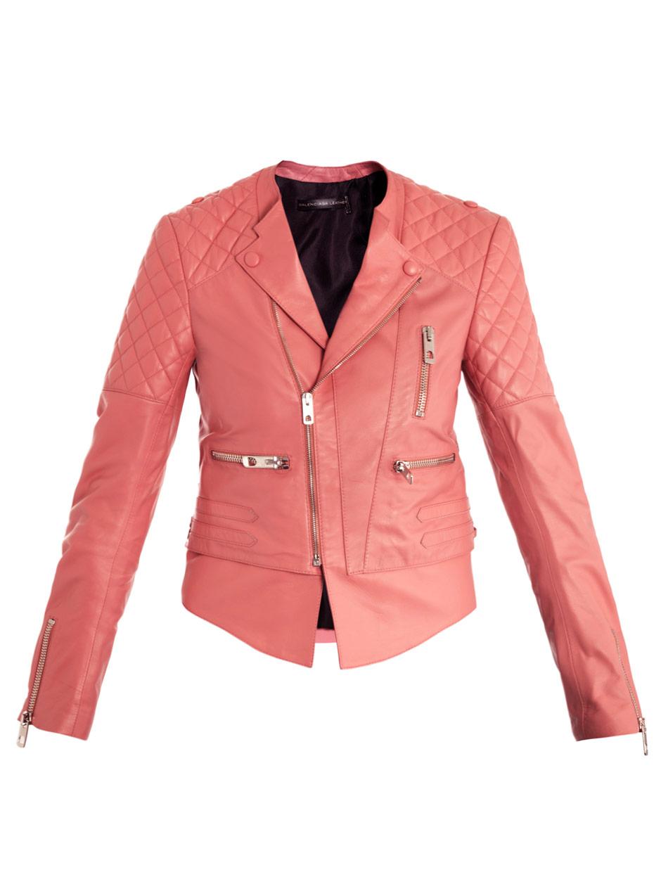 Balenciaga Quilted Shoulder Leather Biker Jacket In Pink