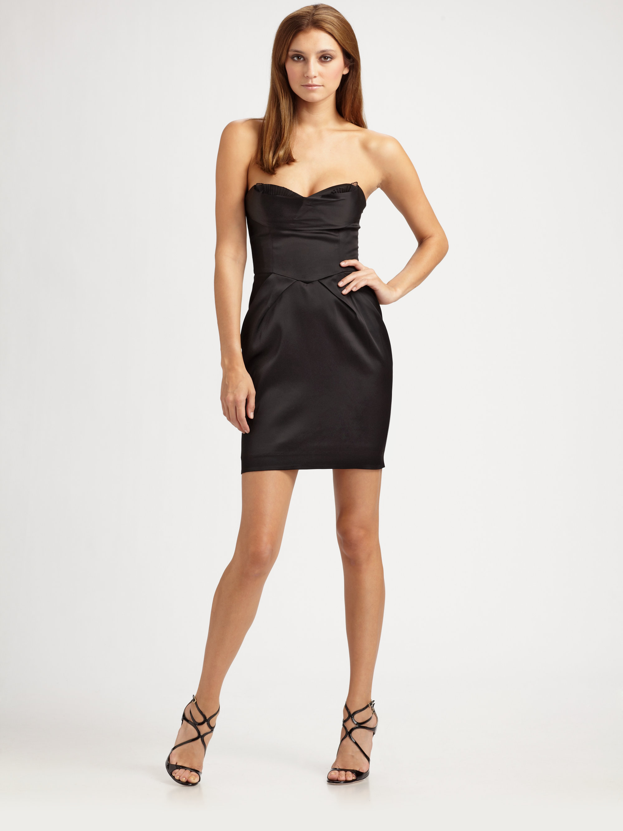 Mini black strapless dress