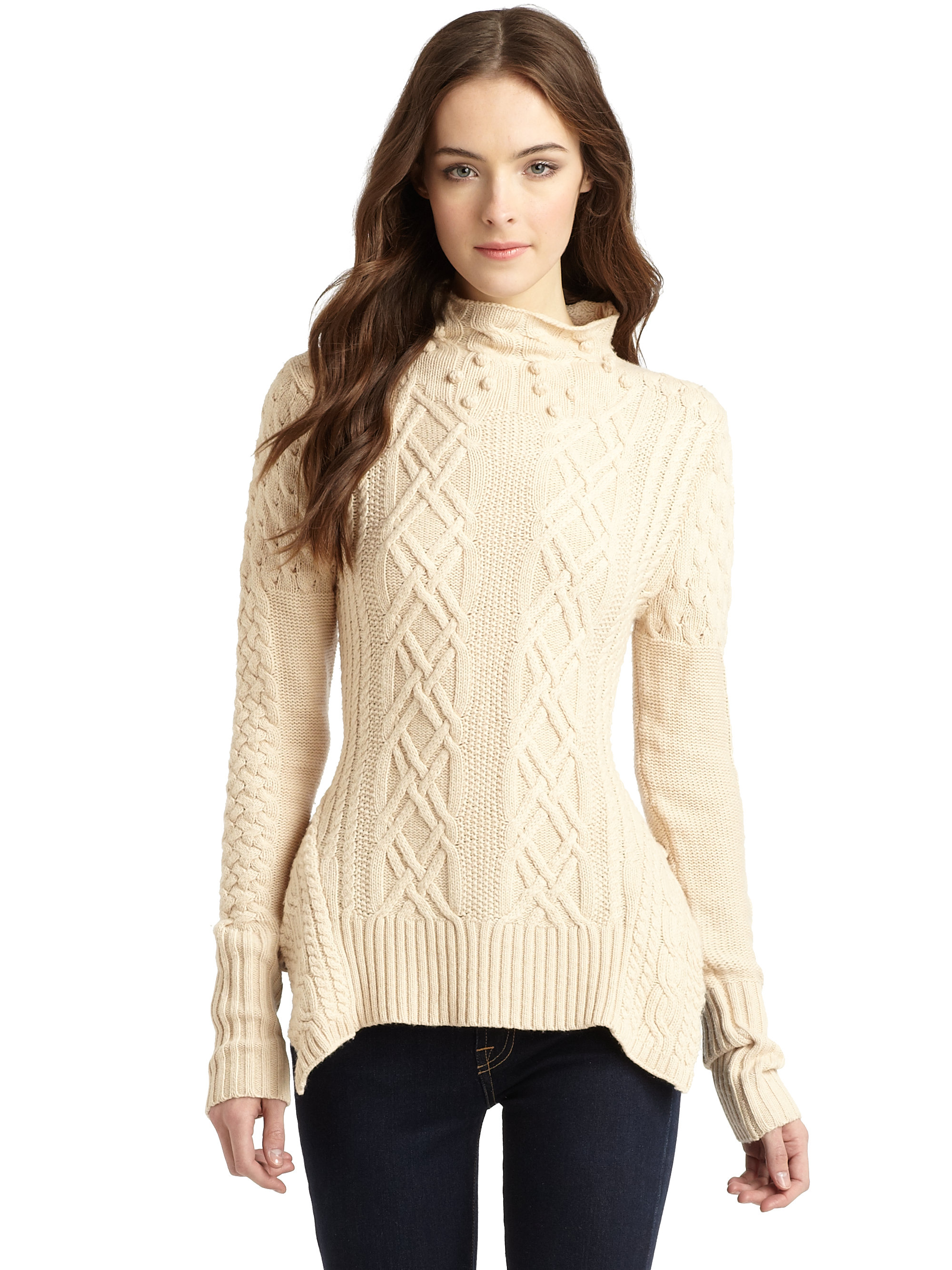 Bcbgmaxazria Maylin Cable Knit Turtleneck Sweater in Natural | Lyst