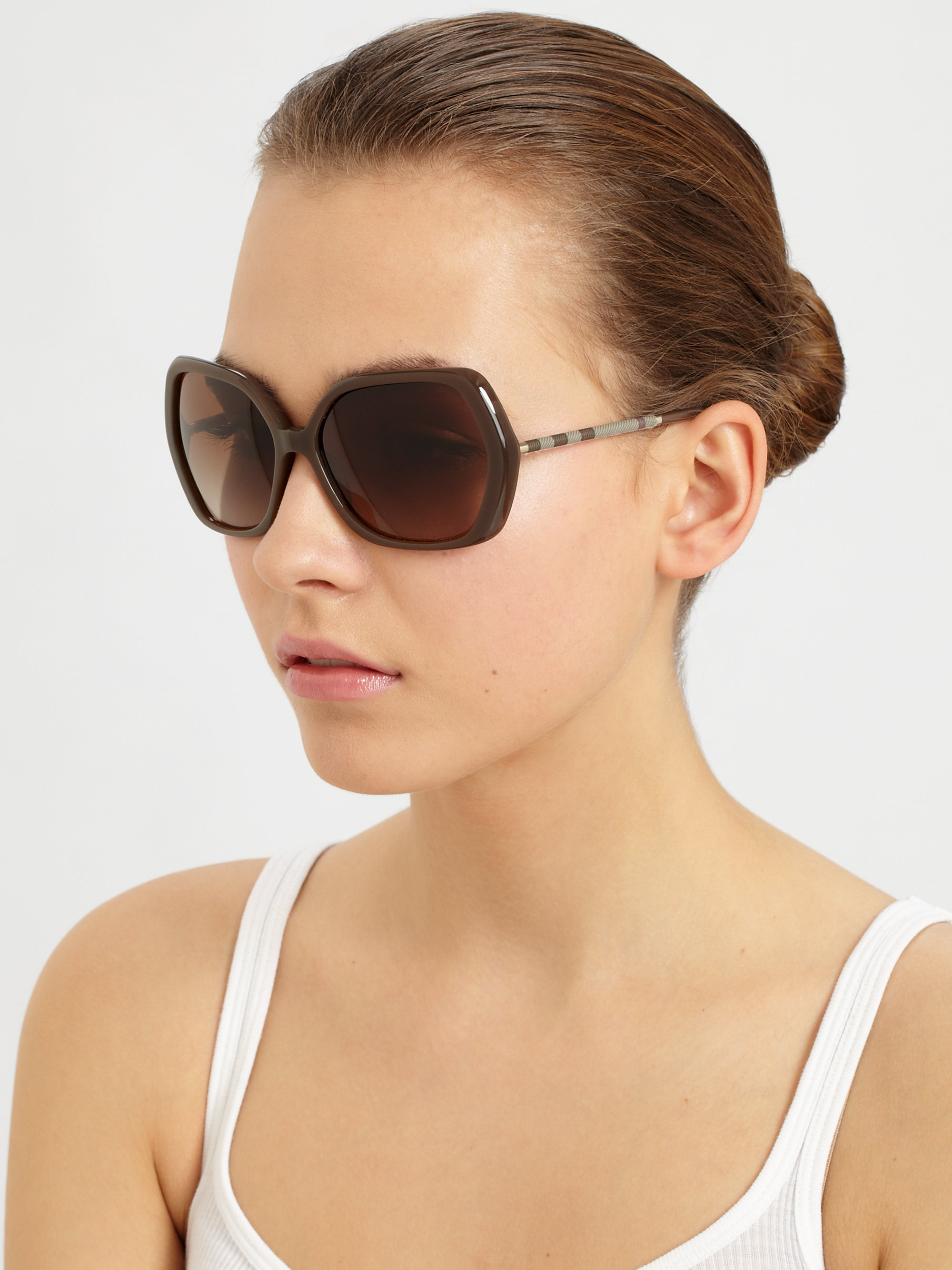 56ddfc5a7ff Lyst - Burberry Glam Check Butterfly Sunglasses in Brown
