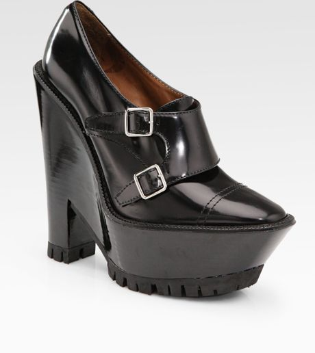 burberry prorsum buckle leather wedge ankle boots in black