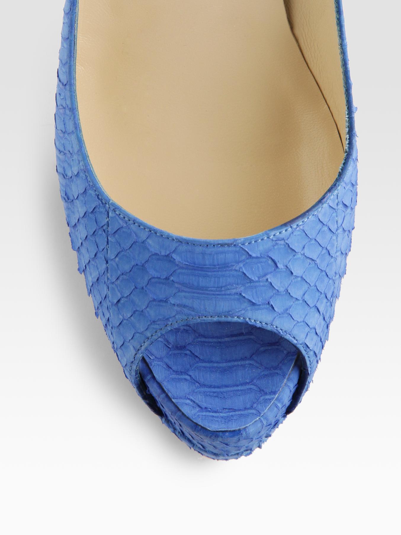 Christian Louboutin Watersnake Peep Toe Pumps Cl Shoes