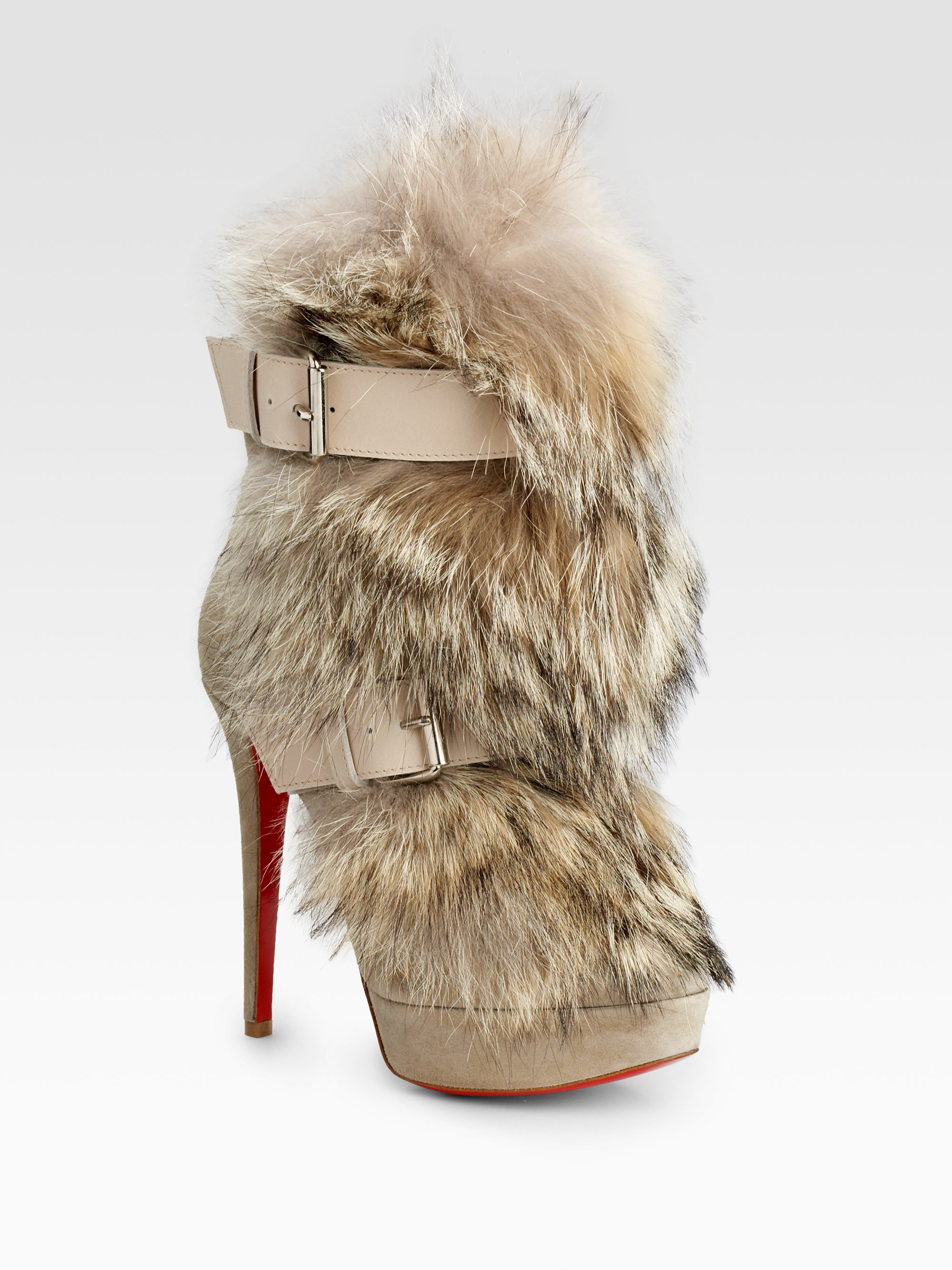 best service 2d8c2 b5a1c Christian Louboutin Natural Toundra Coyote-fur Trimmed Suede Ankle Boots