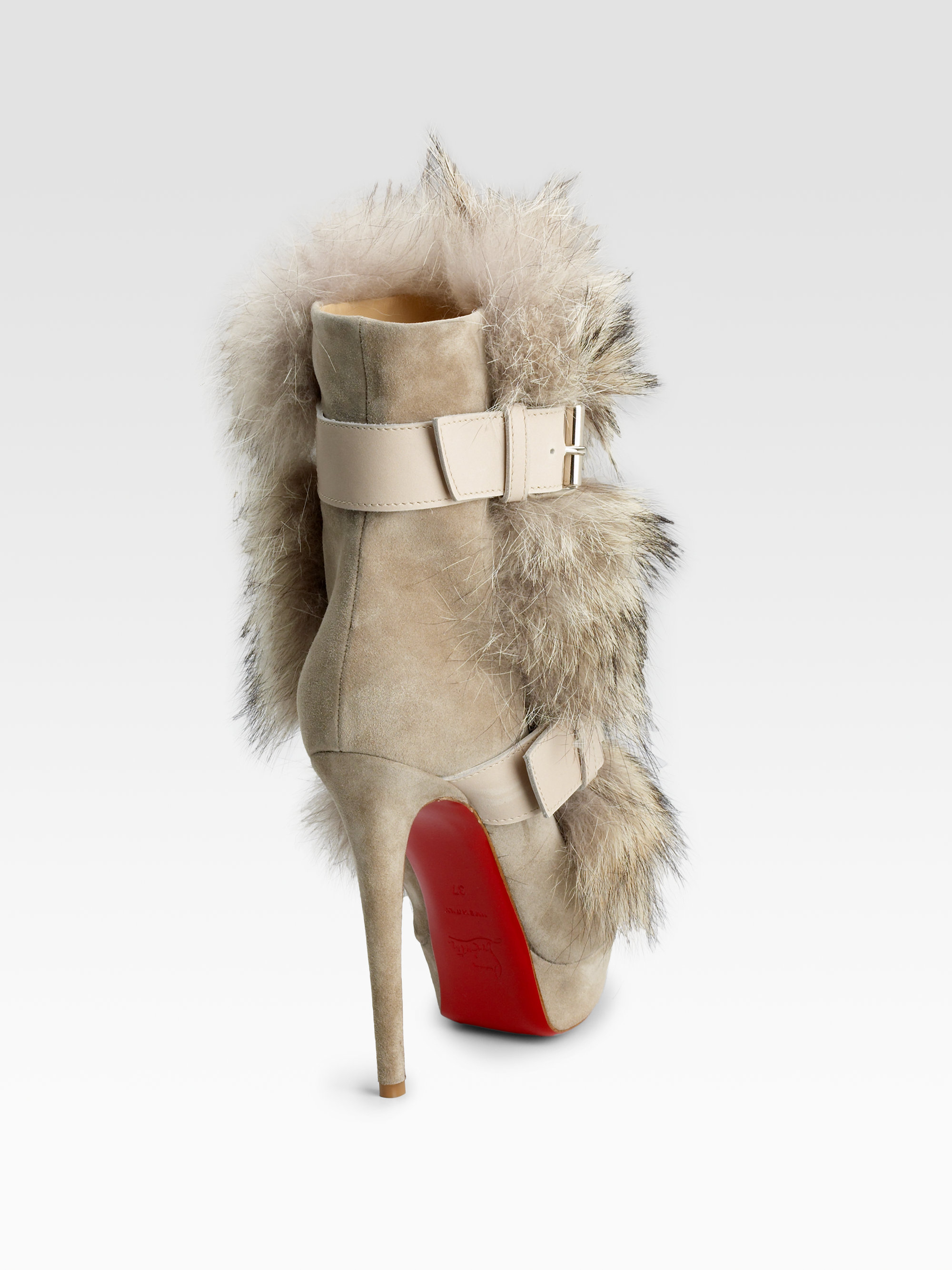 c252f16005f3 Lyst - Christian Louboutin Toundra Coyote-fur Trimmed Suede Ankle ...