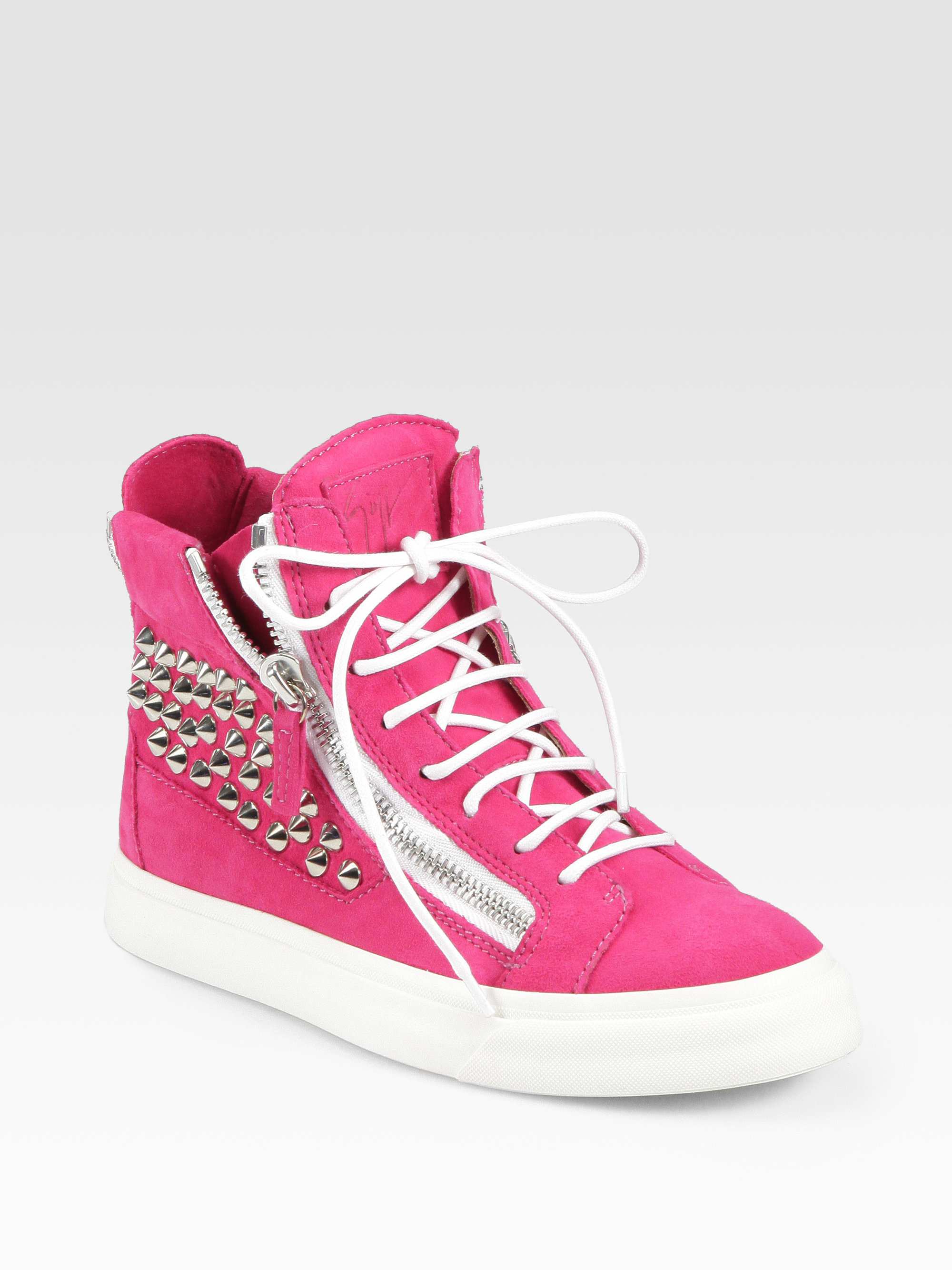 Lyst - Giuseppe Zanotti Studded Suede Wedge Sneakers in Pink