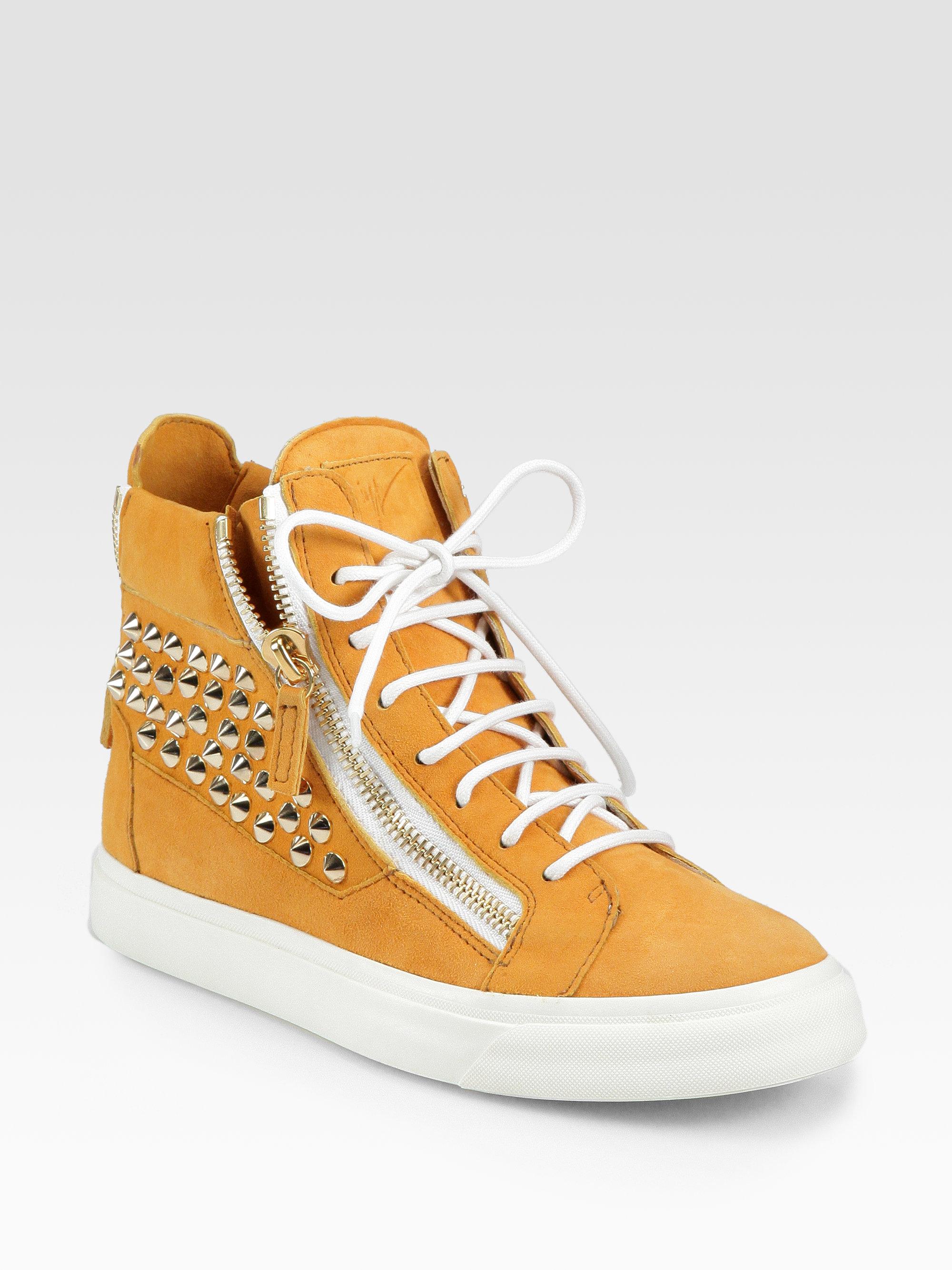 giuseppe zanotti suede studded sneakers