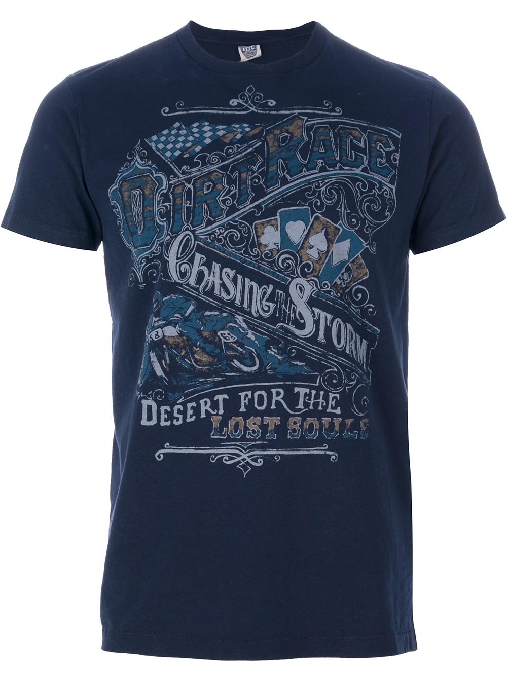 Lyst htc dirty race print tshirt in blue for men for Marathon t shirt printing