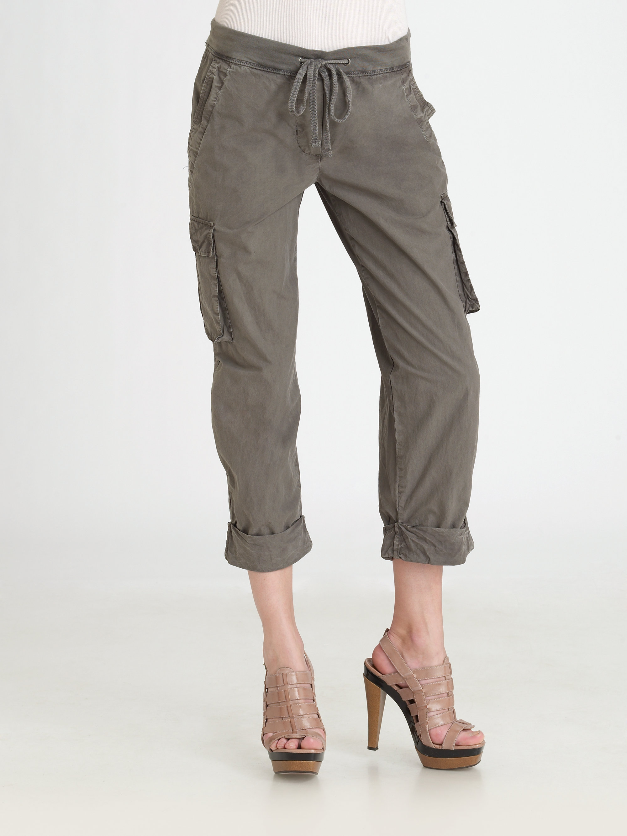 Lyst James Perse Cropped Cargo Pants In Gray