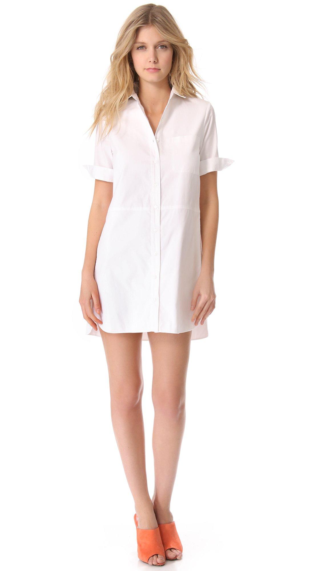 Lyst jenni kayne short sleeve shirt dress in white for Short sleeve white dress shirt