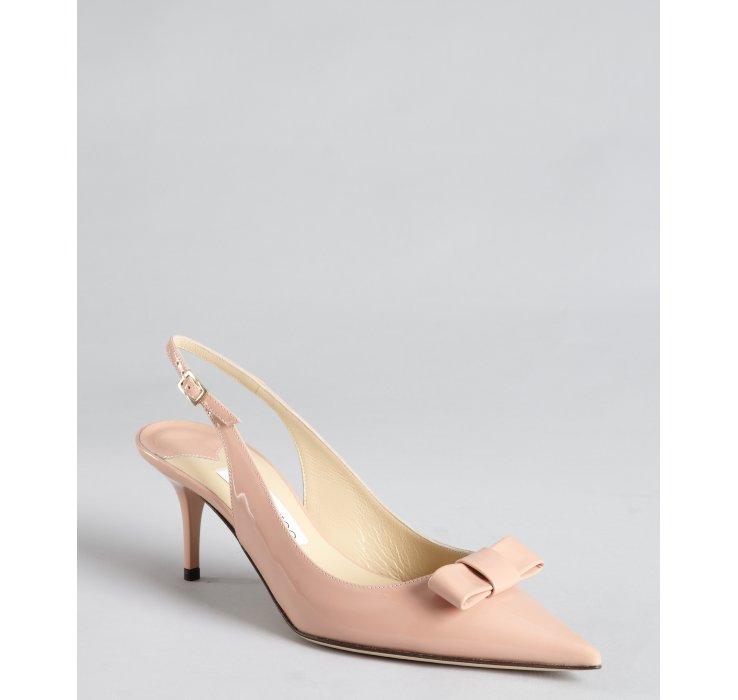 jimmy choo ballet pink patent leather bow pointed toe mara slingback pumps in pink ballet pink. Black Bedroom Furniture Sets. Home Design Ideas