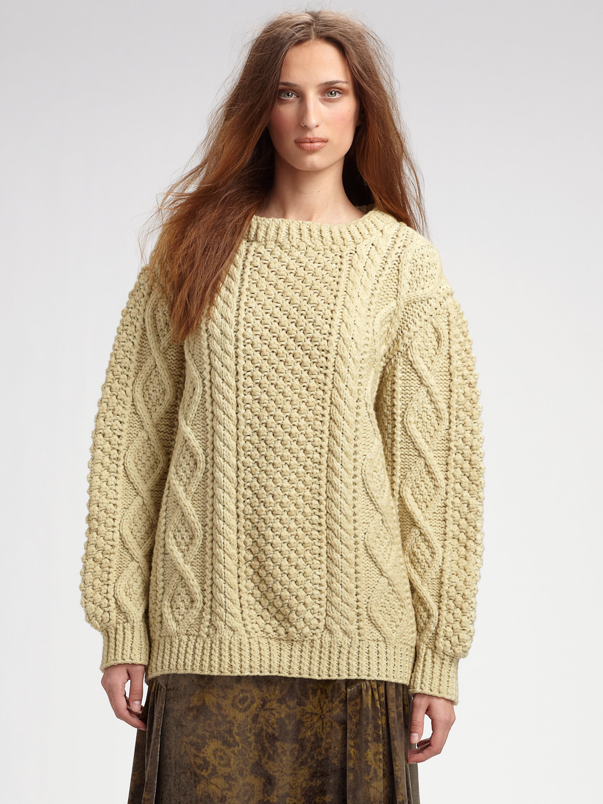 62640731e5faf Lyst - Marc Jacobs Handknit Fisherman Sweater in Natural