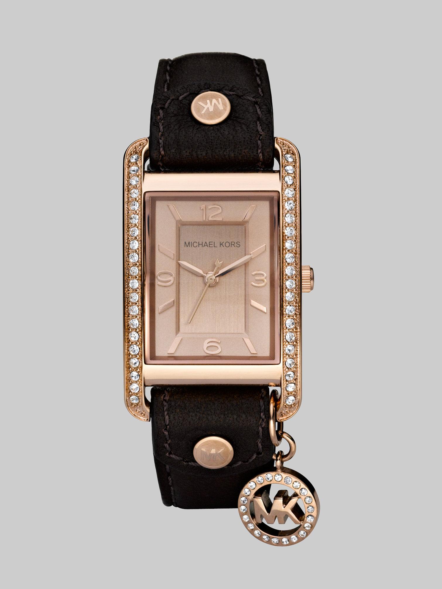 Michael kors Rectangular Leather Strap Watchchocolate in ...