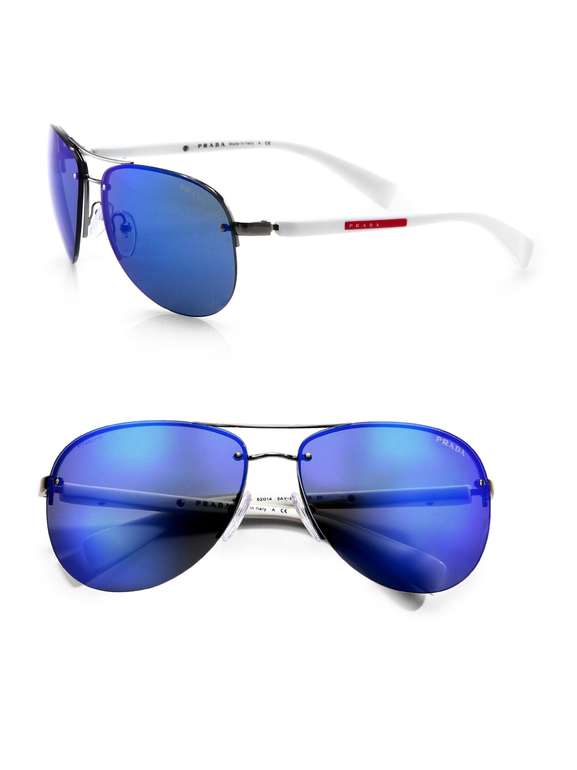 658cdd0250c67 ... spain lyst prada metal aviator sunglasses in blue for men e468c 7bfe9
