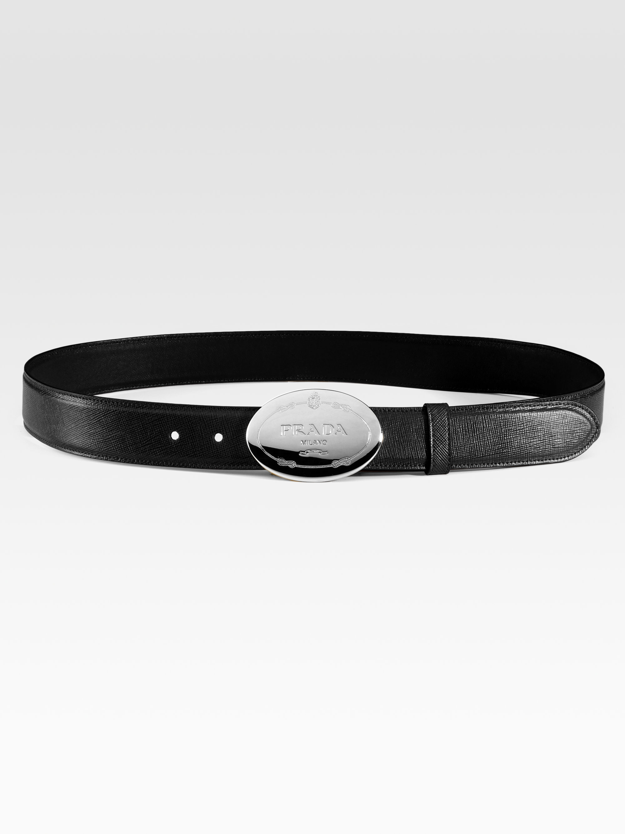 Prada Saffiano Engraved Belt in Black (silver) | Lyst