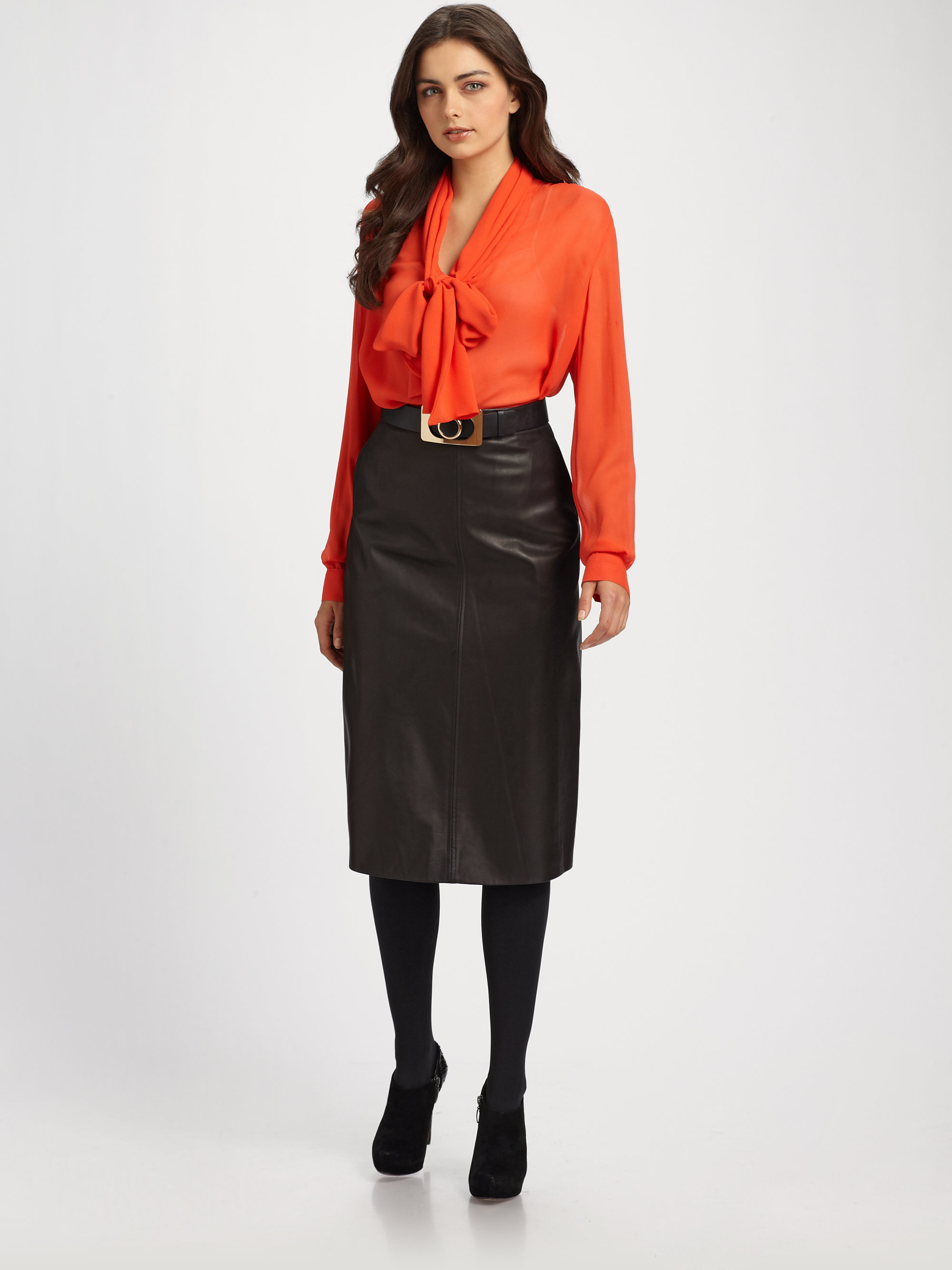 Raoul Lamb Nappa Leather Skirt in Black | Lyst