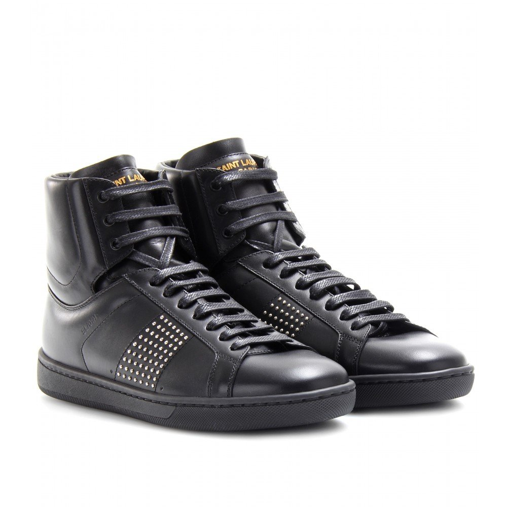 wide range of cheap online sale new styles Saint Laurent Leather Studded Sneakers clearance enjoy shopping online cheap price cheap sale cheap HgIEYAIJg