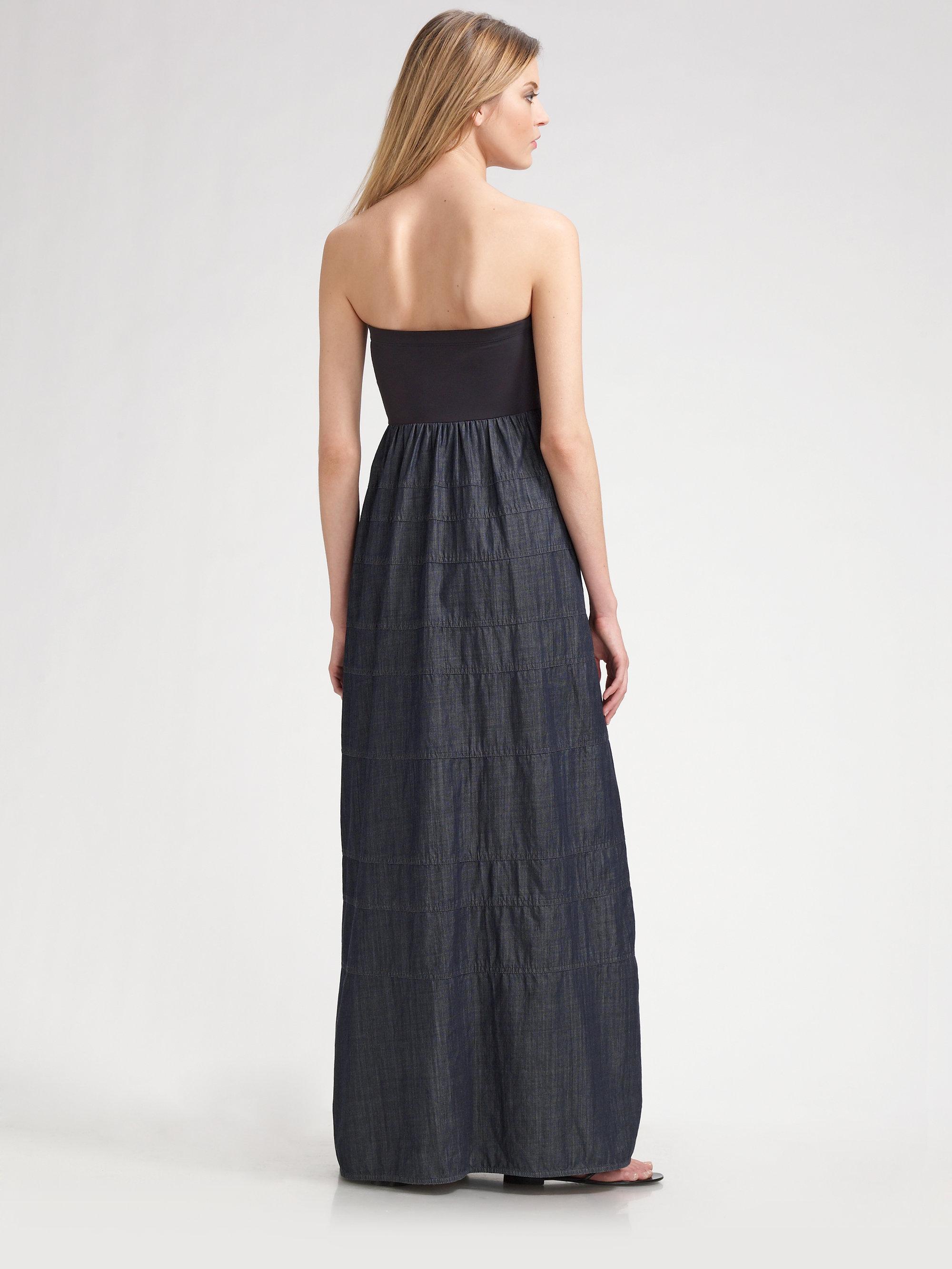 Theory Keegan Strapless Maxi Dress in Gray | Lyst
