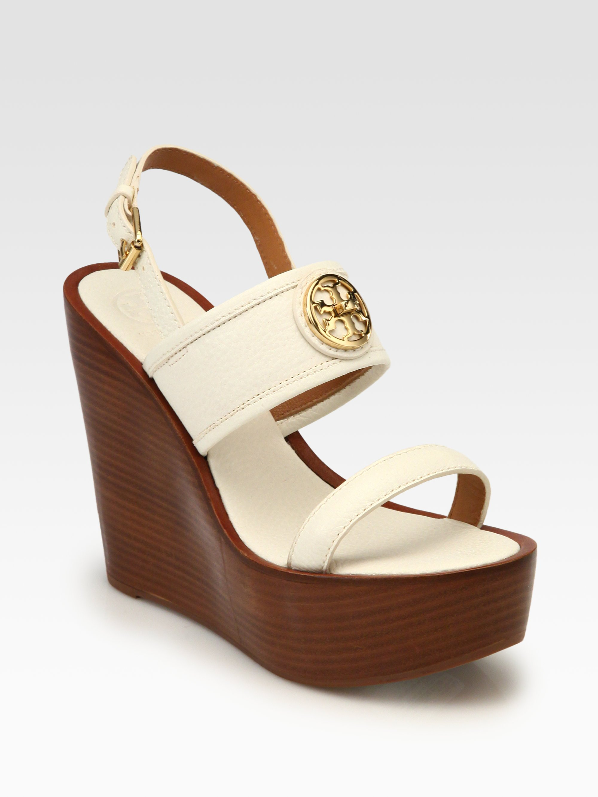 79cedb66be98 Lyst - Tory Burch Selma Leather Wedge Sandals in Brown