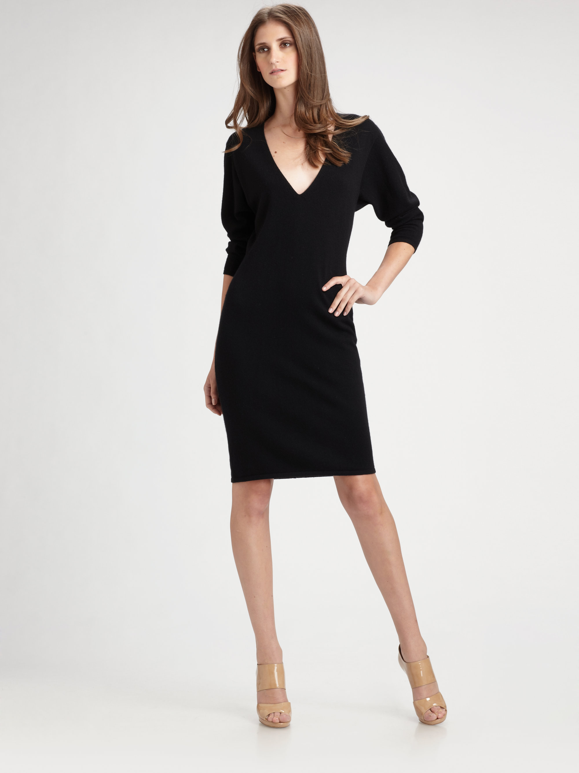 Tse Vneck Cashmere Sweater Dress in Black | Lyst