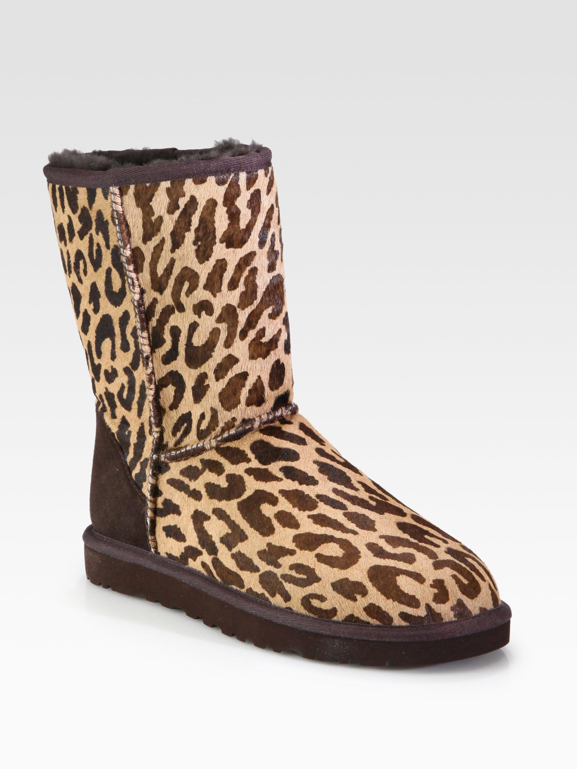 Ugg Classic Short Leopardprint Calf Hair Boots In Cheetah