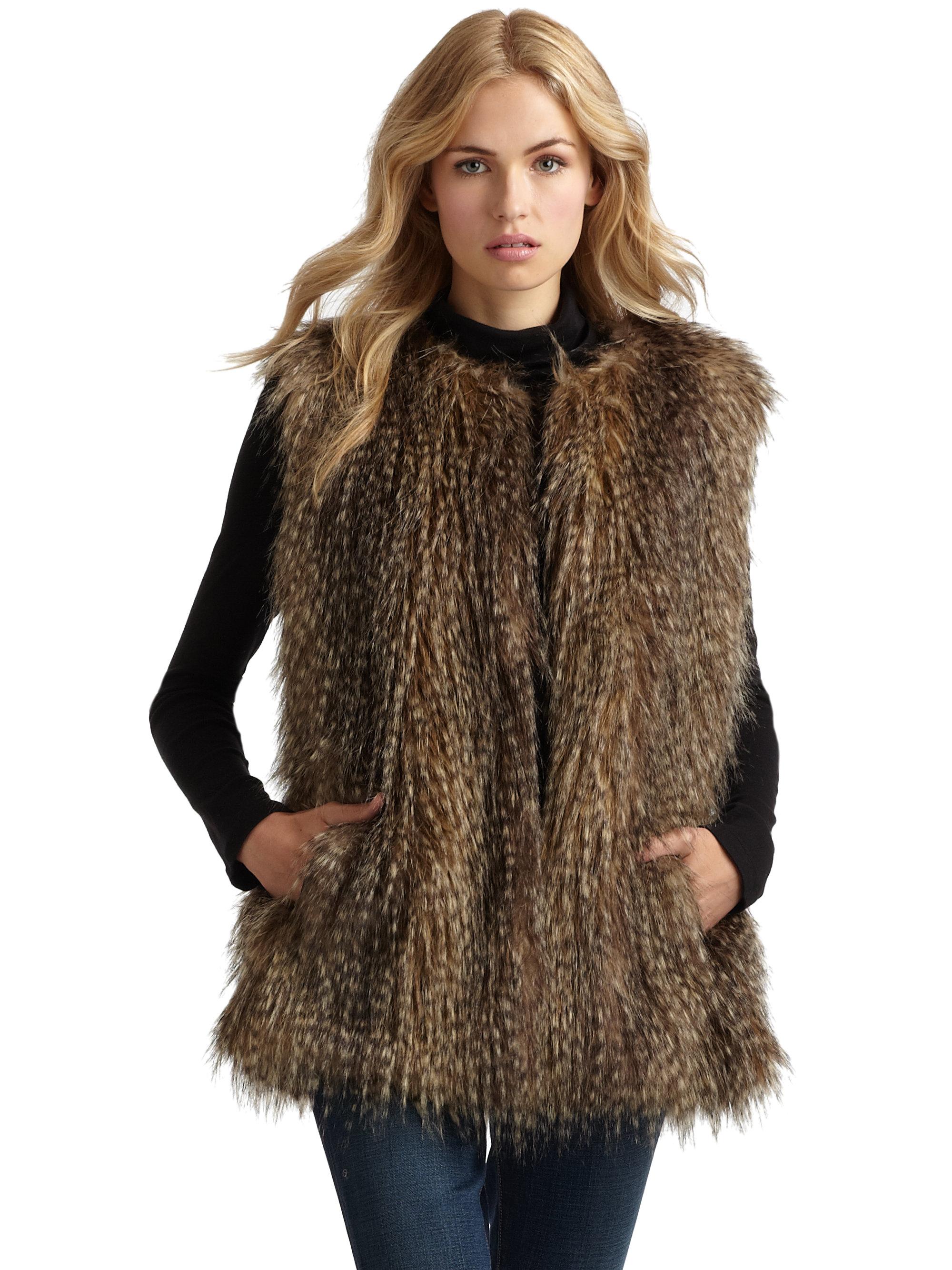 Womens Via Spiga Faux Fur Vest, Size Medium - Brown