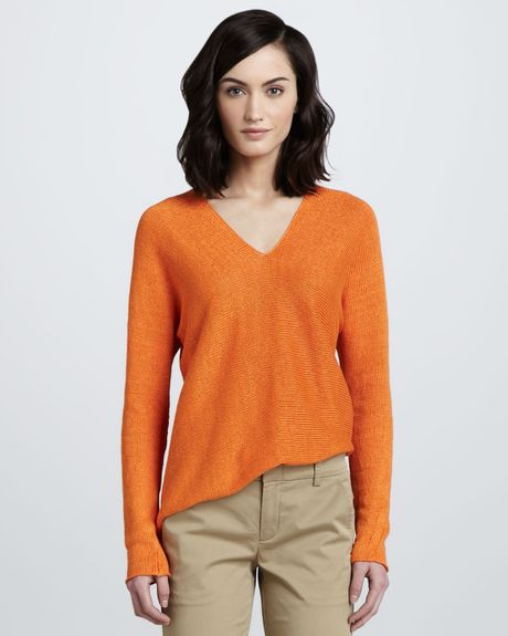 Vince Linen Vneck Sweater In Orange Coastal Lyst