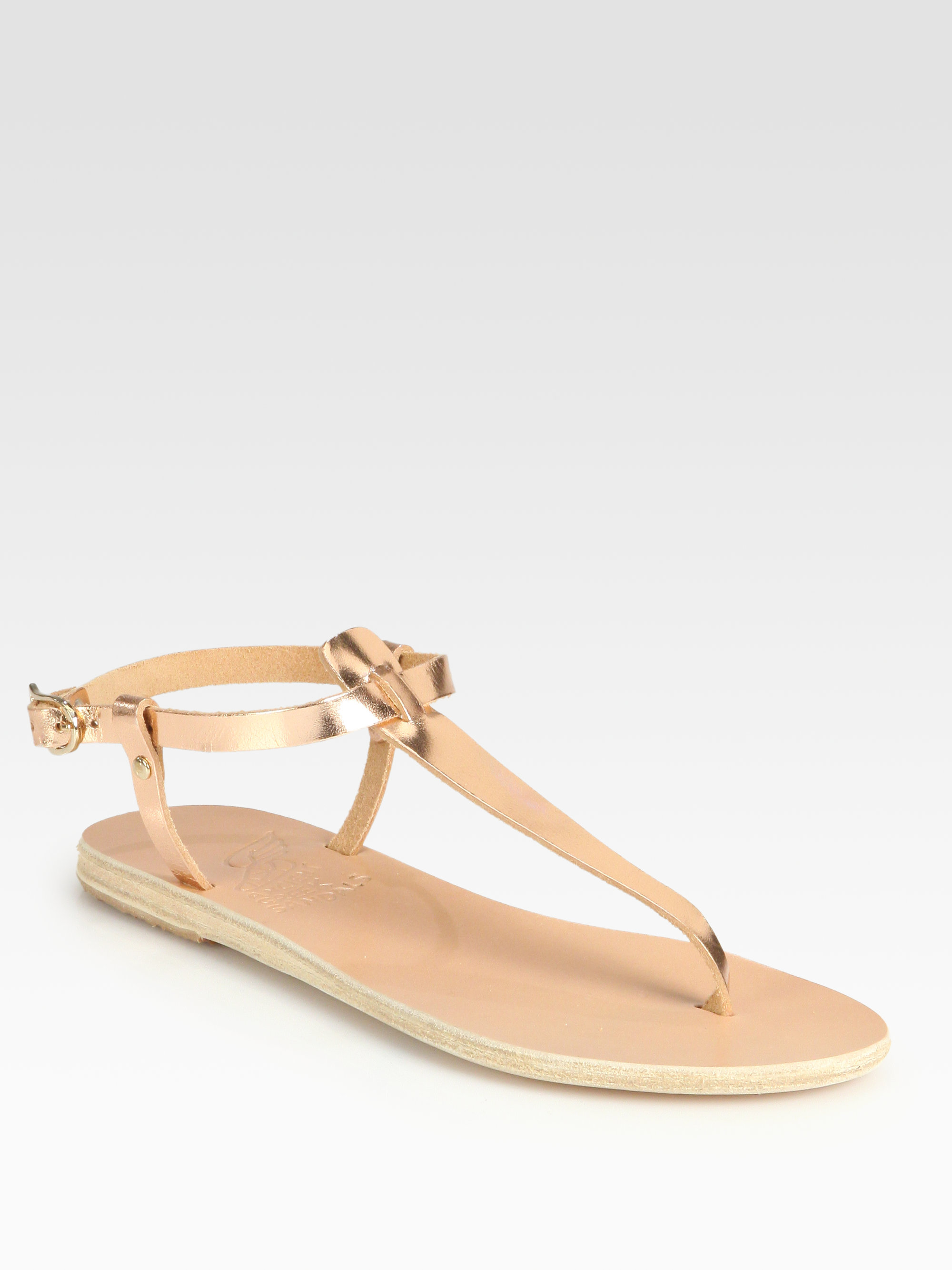 Ancient Greek Sandals Lito Metallic Leather Tstrap Sandals