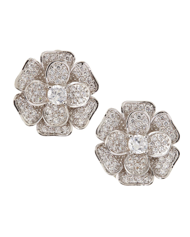 Pave Cubic Zirconia Flower Clip Earrings