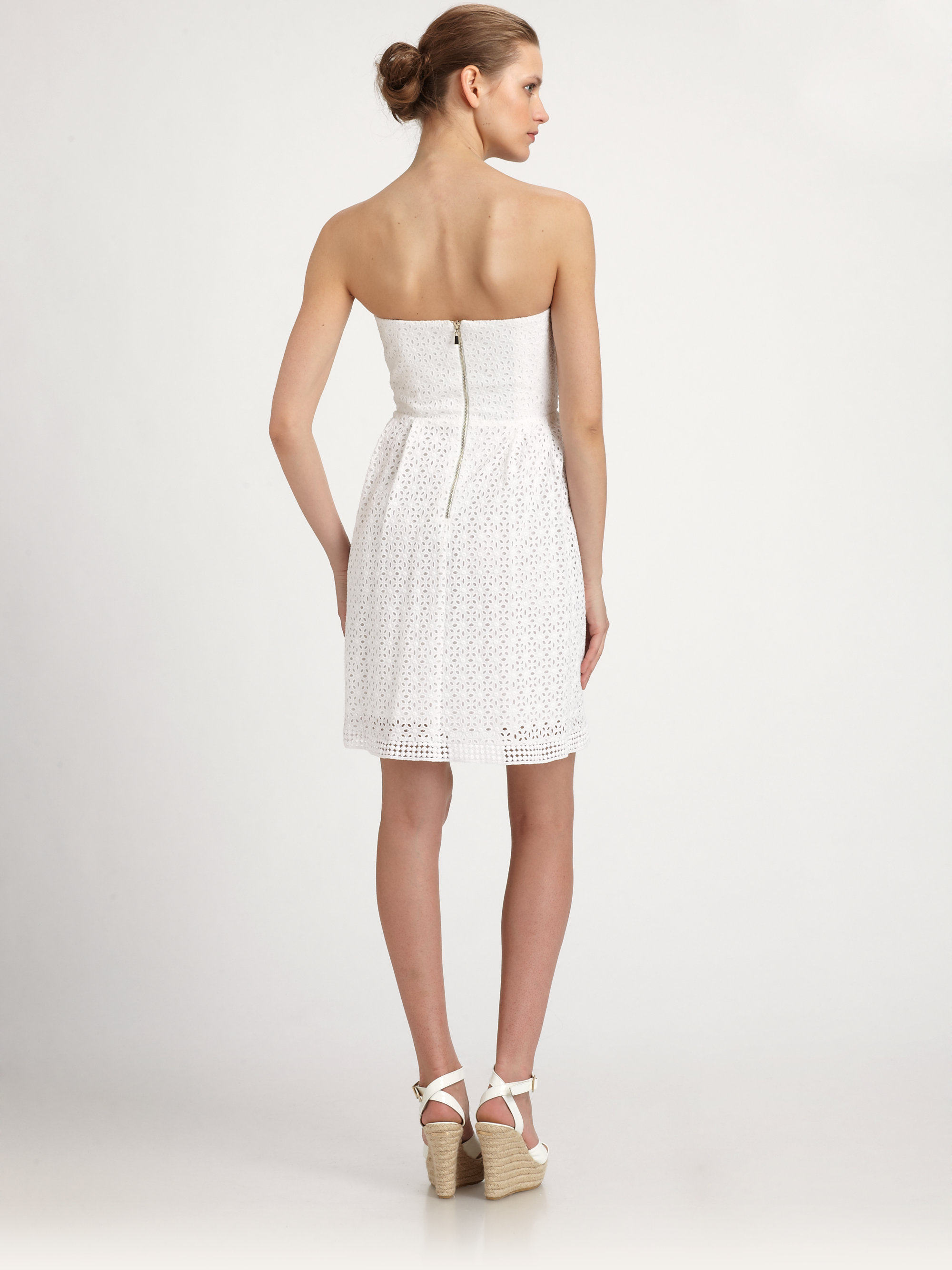 Laundry by shelli segal Strapless Cotton Eyelet Dress in White - Lyst