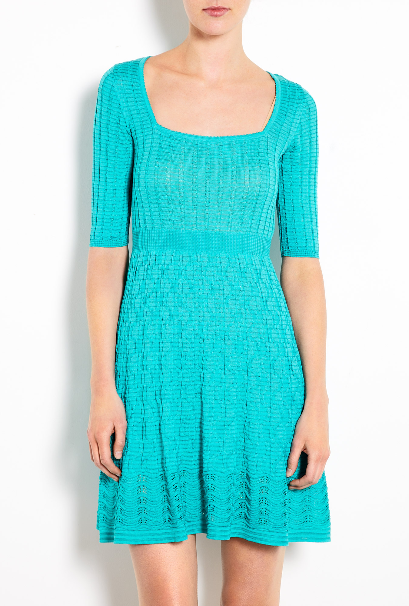 M Missoni Square Neck Wave Knit Dress In Blue Turquoise