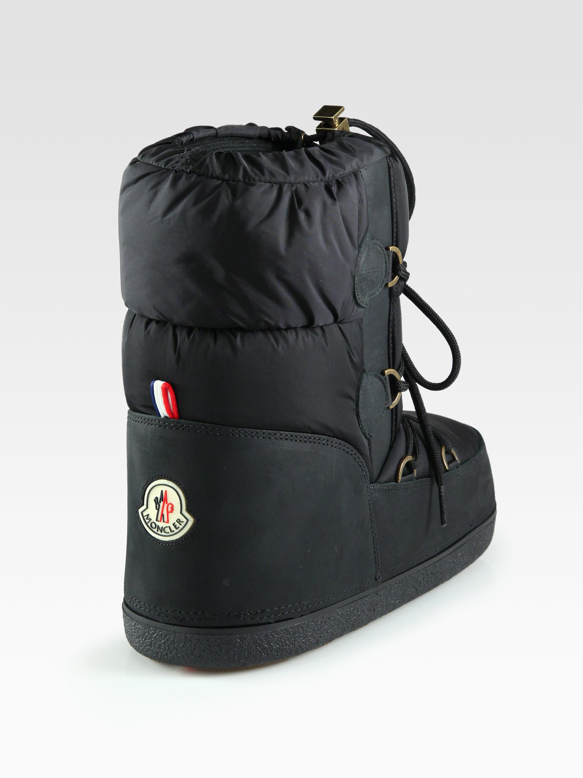497e9d0e87b Moncler Black Nylon Leather Laceup Moon Boots