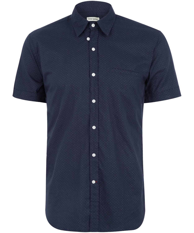 Oliver Spencer Navy Polka Dot Short Sleeve Shirt In Blue