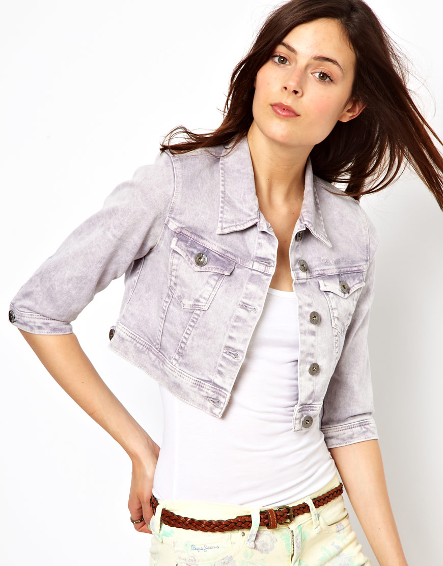 Pepe Jeans Colored Denim Jacket In Blue Lyst
