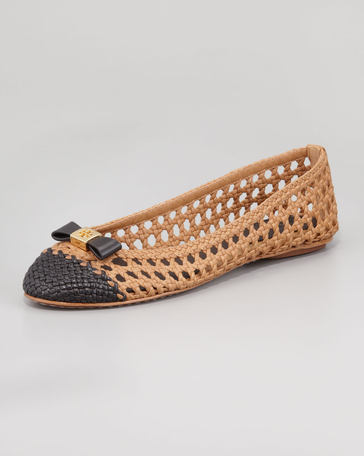 tory burch carlyle woven leather ballerina flat sandblack in brown lyst. Black Bedroom Furniture Sets. Home Design Ideas